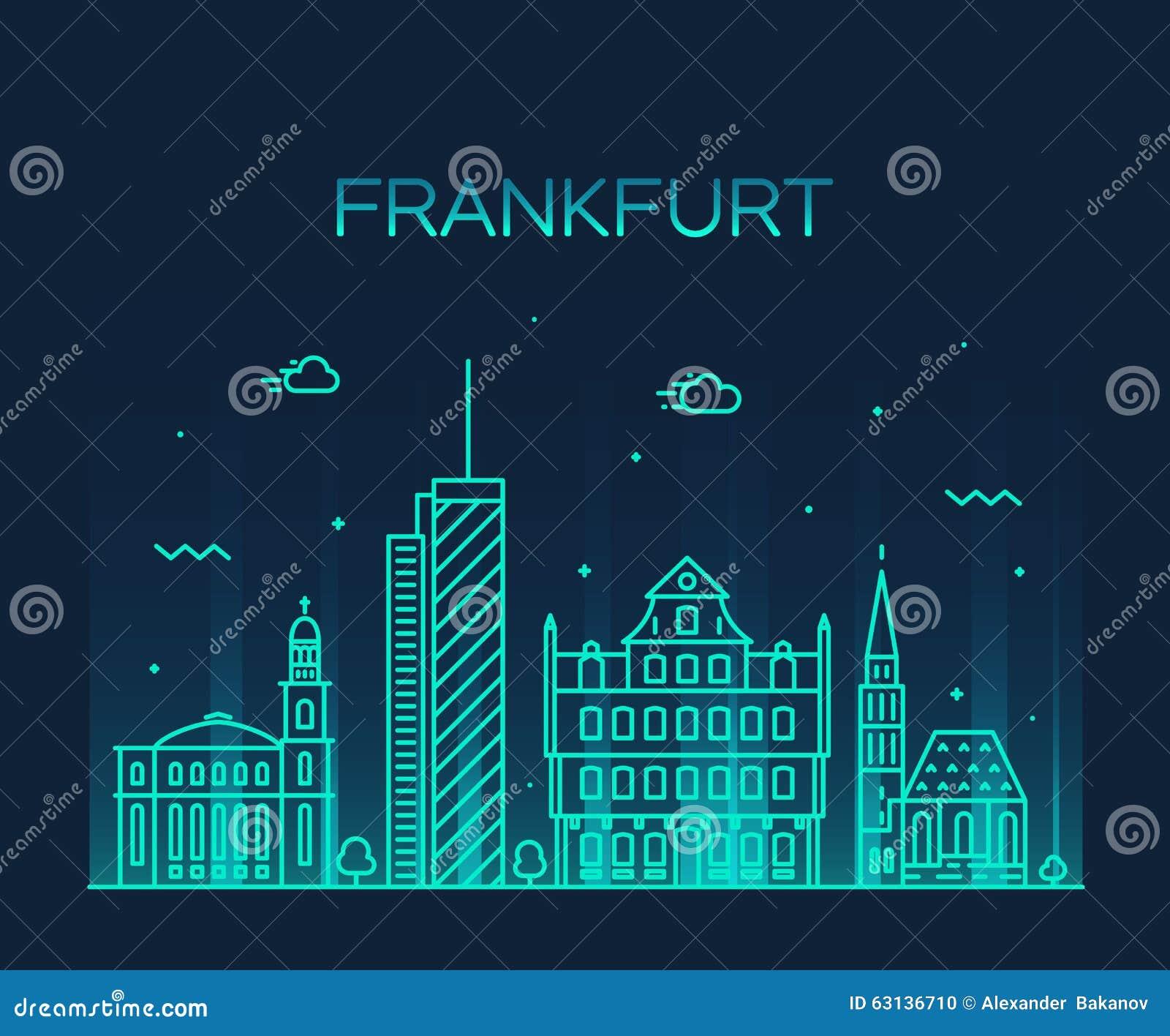 Frankfurt skyline vector illustration linear style stock for Graphic design frankfurt