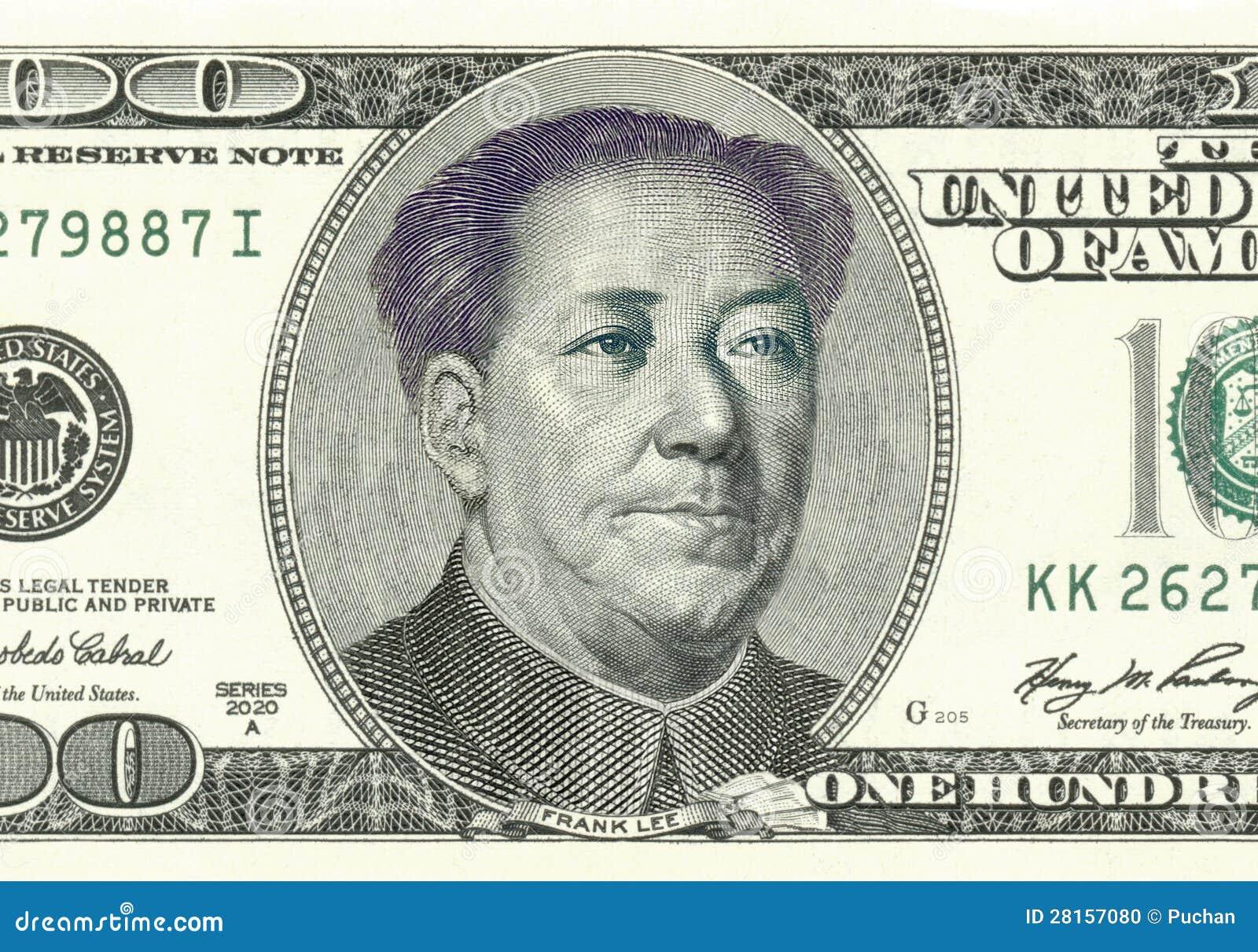 franklin converted to mao on 100 dollar bill stock illustration