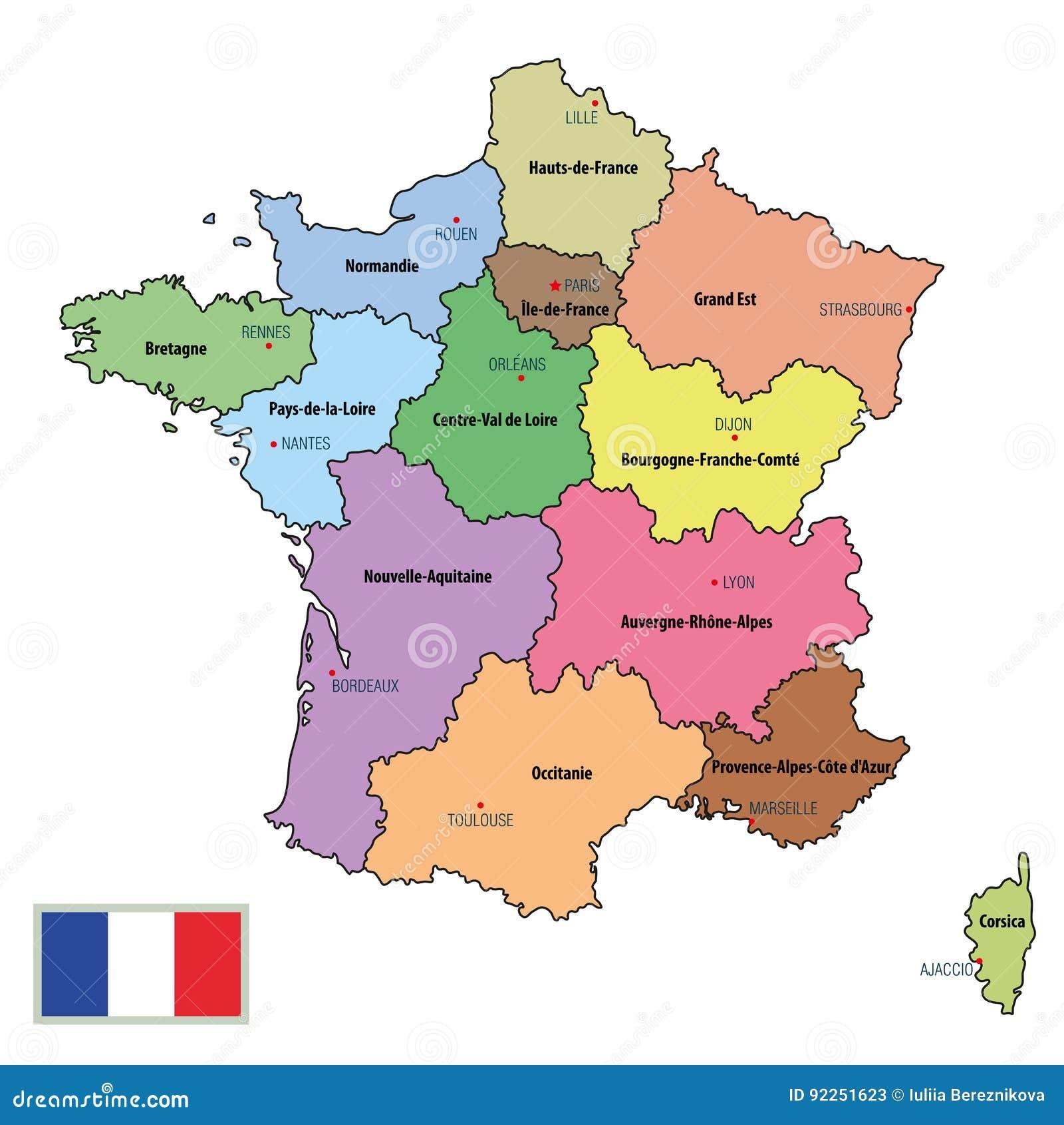 Frankreich Karte Regionen.Frankreich Karte Mit Regionen Und Ihren Hauptstädten Vektor