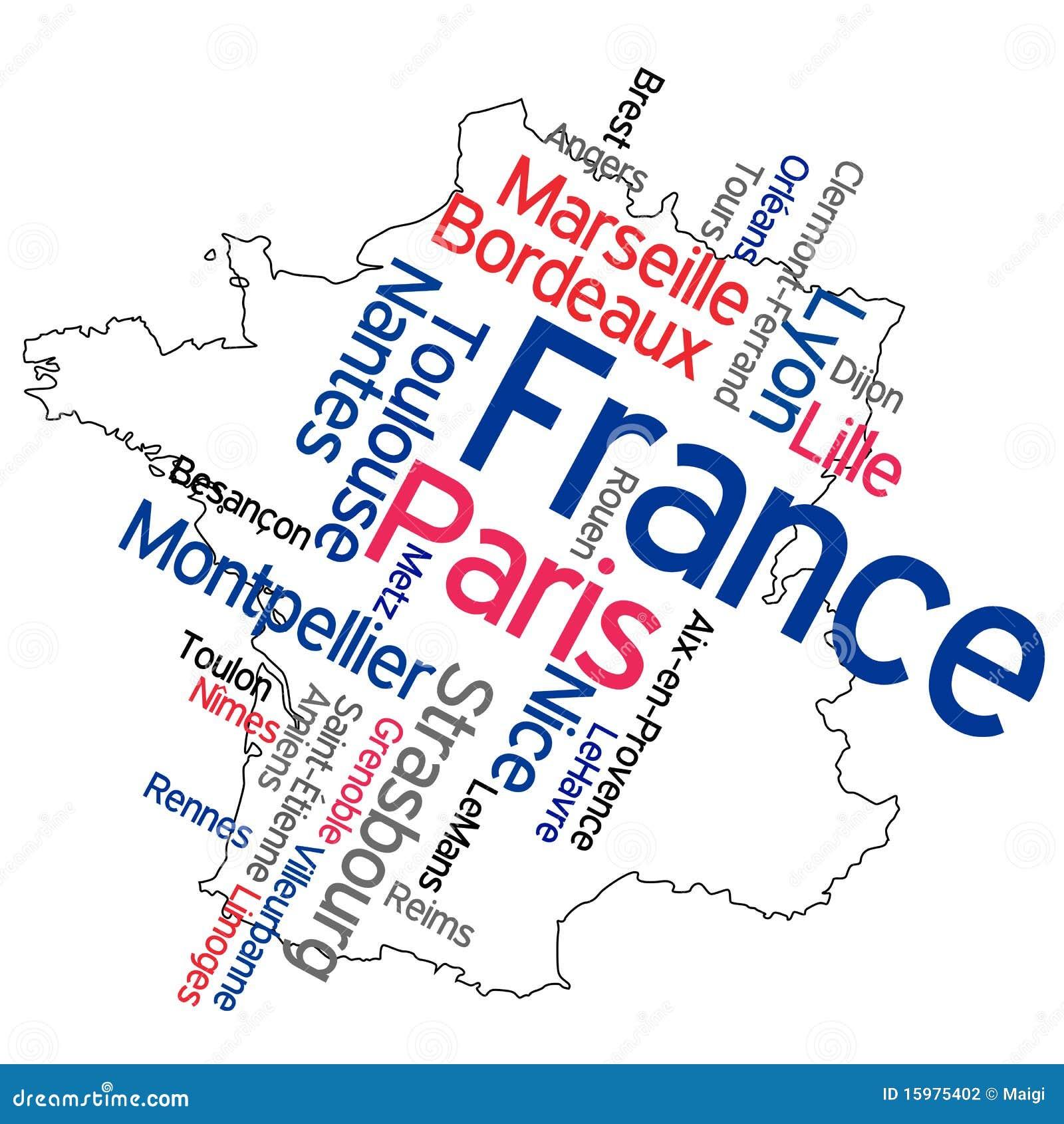 Frankreich Karte Stadte.Frankreich Karte Und Stadte Vektor Abbildung Illustration
