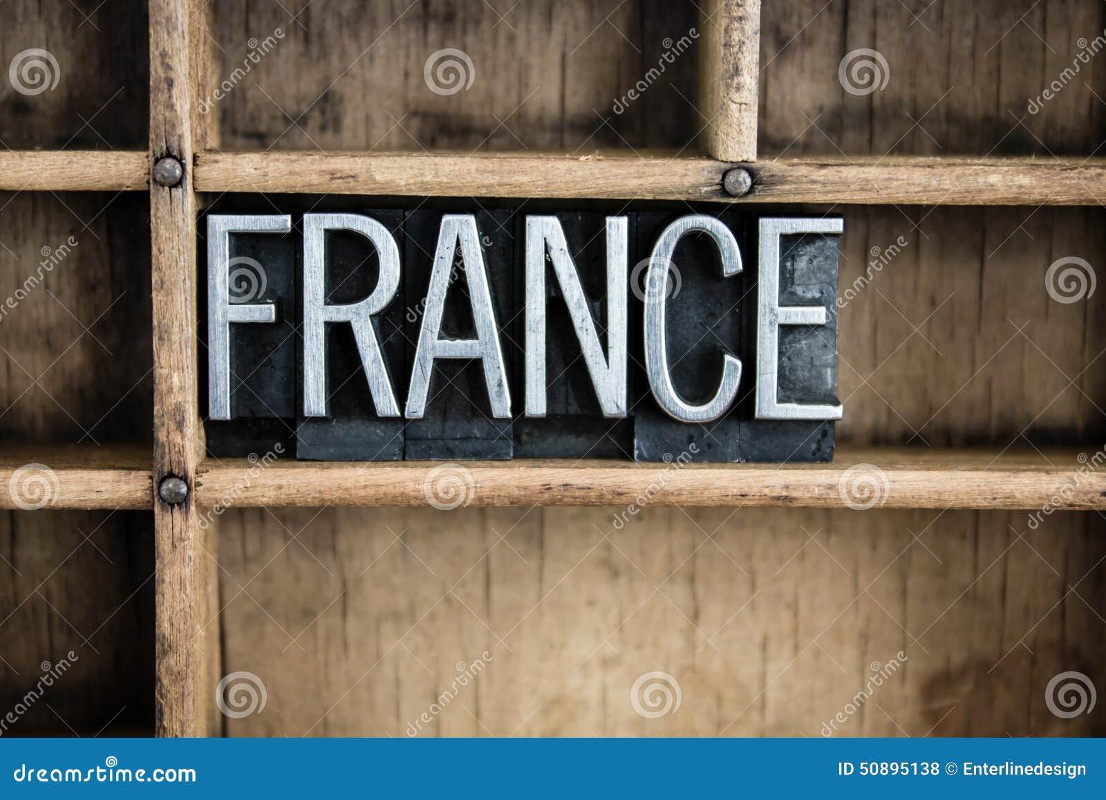 Frankreich-Konzept-Metallbriefbeschwerer-Wort im Fach