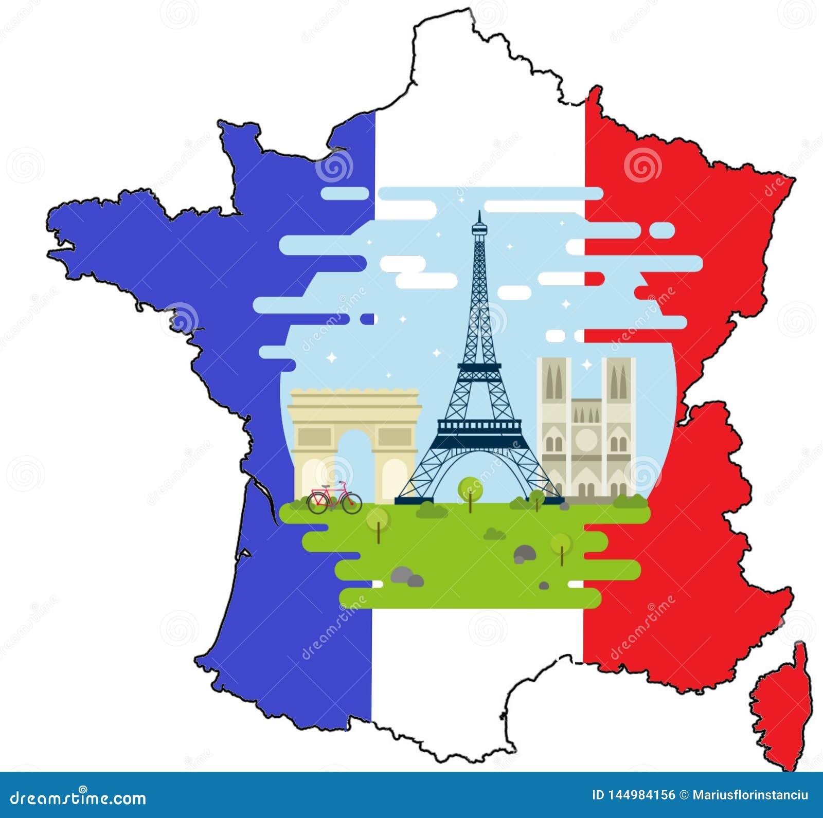 Frankrijk met drie nationale symbolen Arc de Triomphe, Notre Dame, de Reis van Eiffel