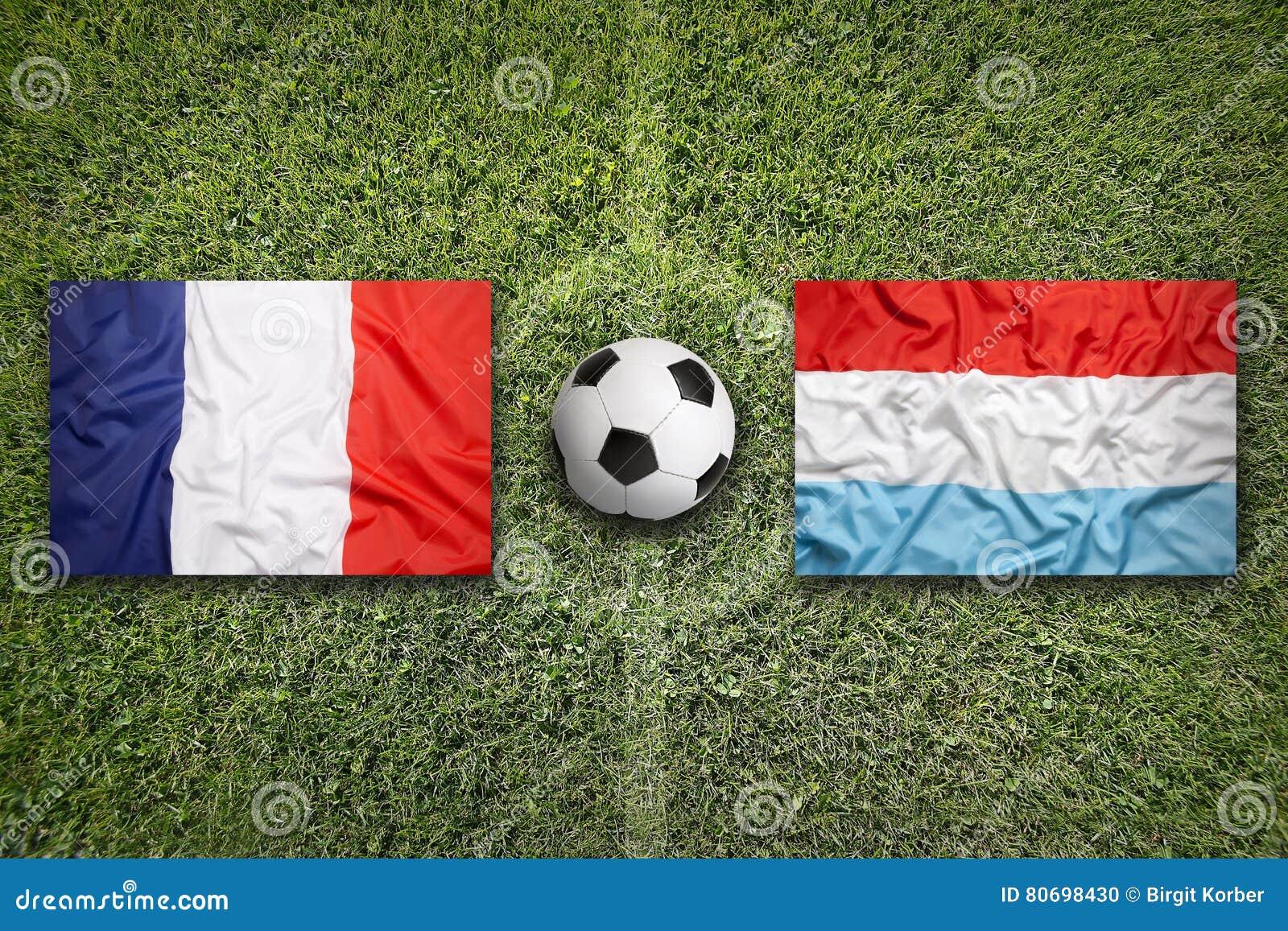 Frankrijk versus De vlaggen van Luxemburg op voetbalgebied