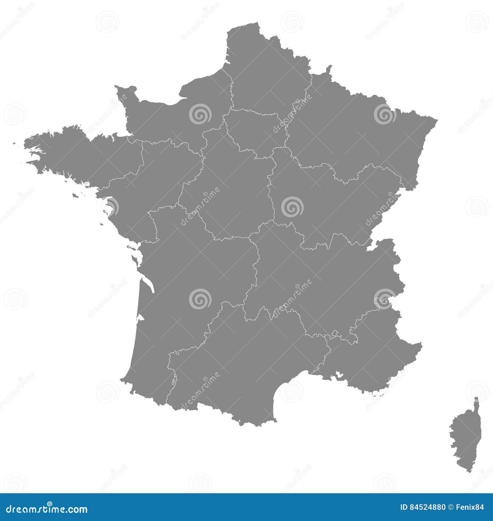 Frankrike Oversikt Med Granser Av Regionerna Vektorillustration Av H Vektor Illustrationer Illustration Av Cartography Boris 84524880