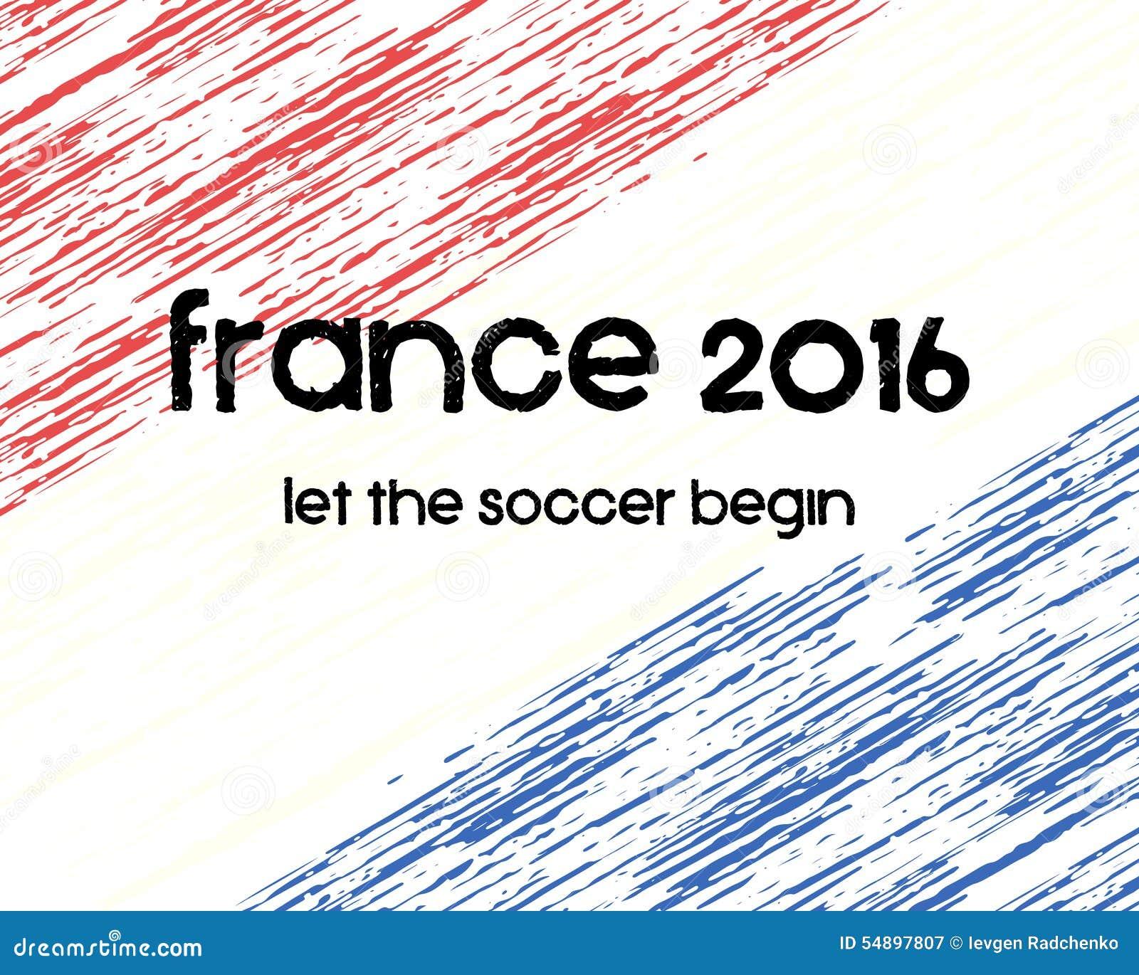 Frankrike fotbollaffisch 2016 Retro stilfulla Frankrike