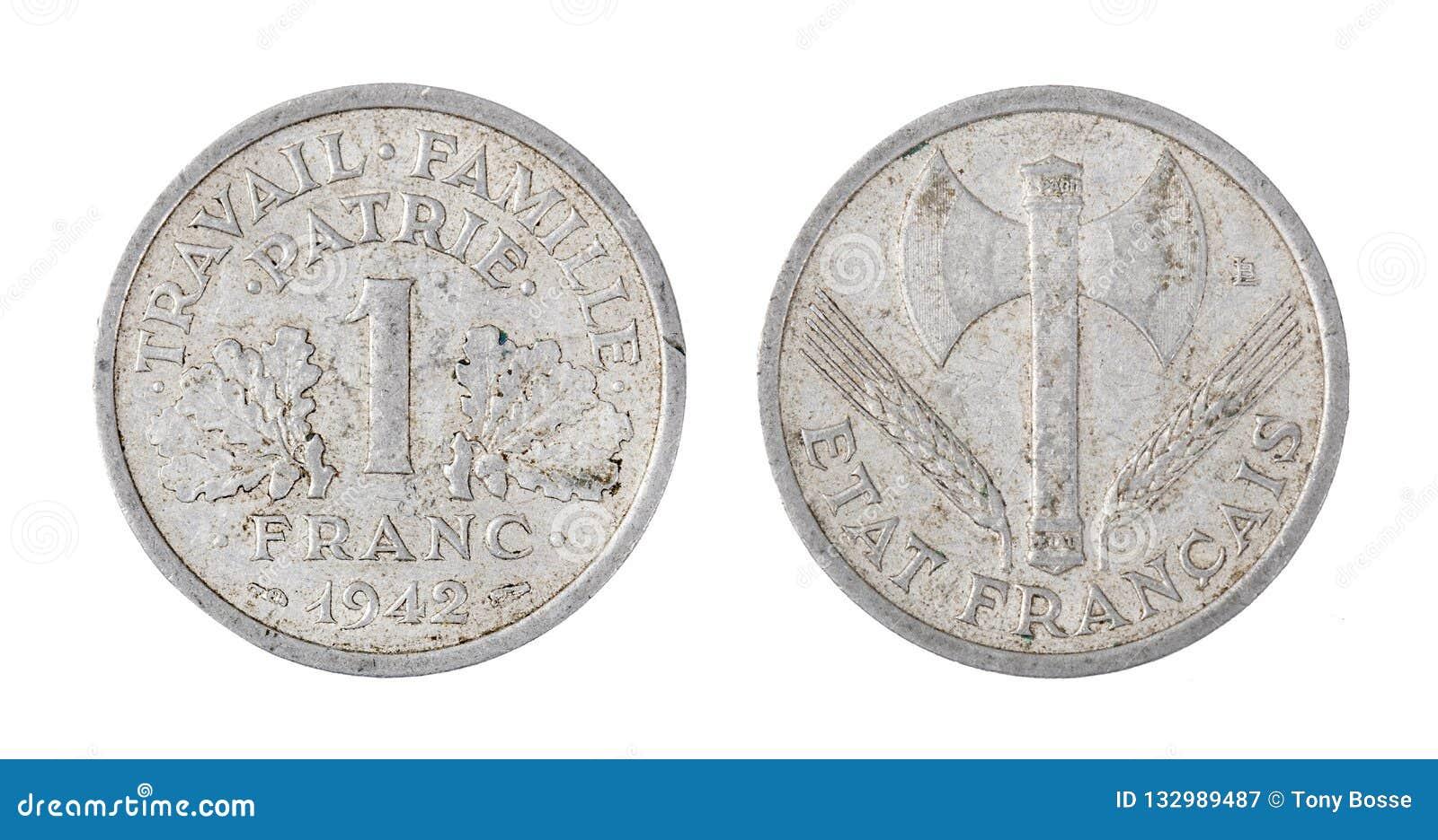 Frankrike mynt, 1 franc som isoleras på vit