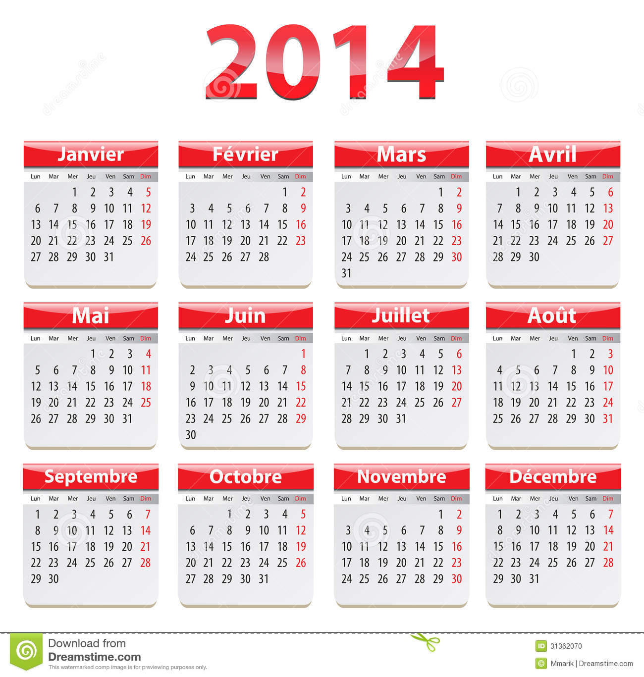 2014 franse kalender vector illustratie illustratie