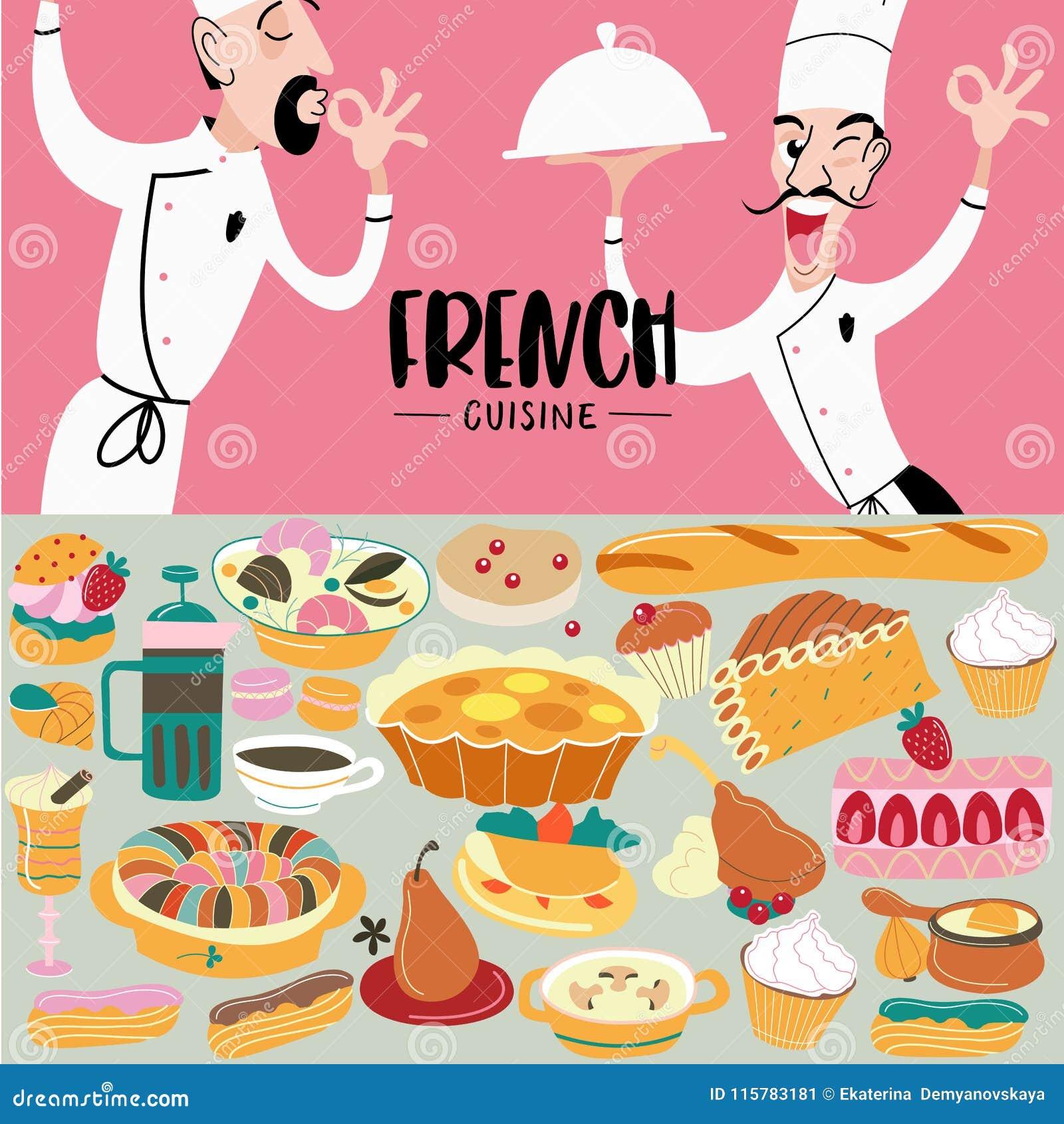 Fransk kokkonst meny En uppsättning av franskadisk och bakelser