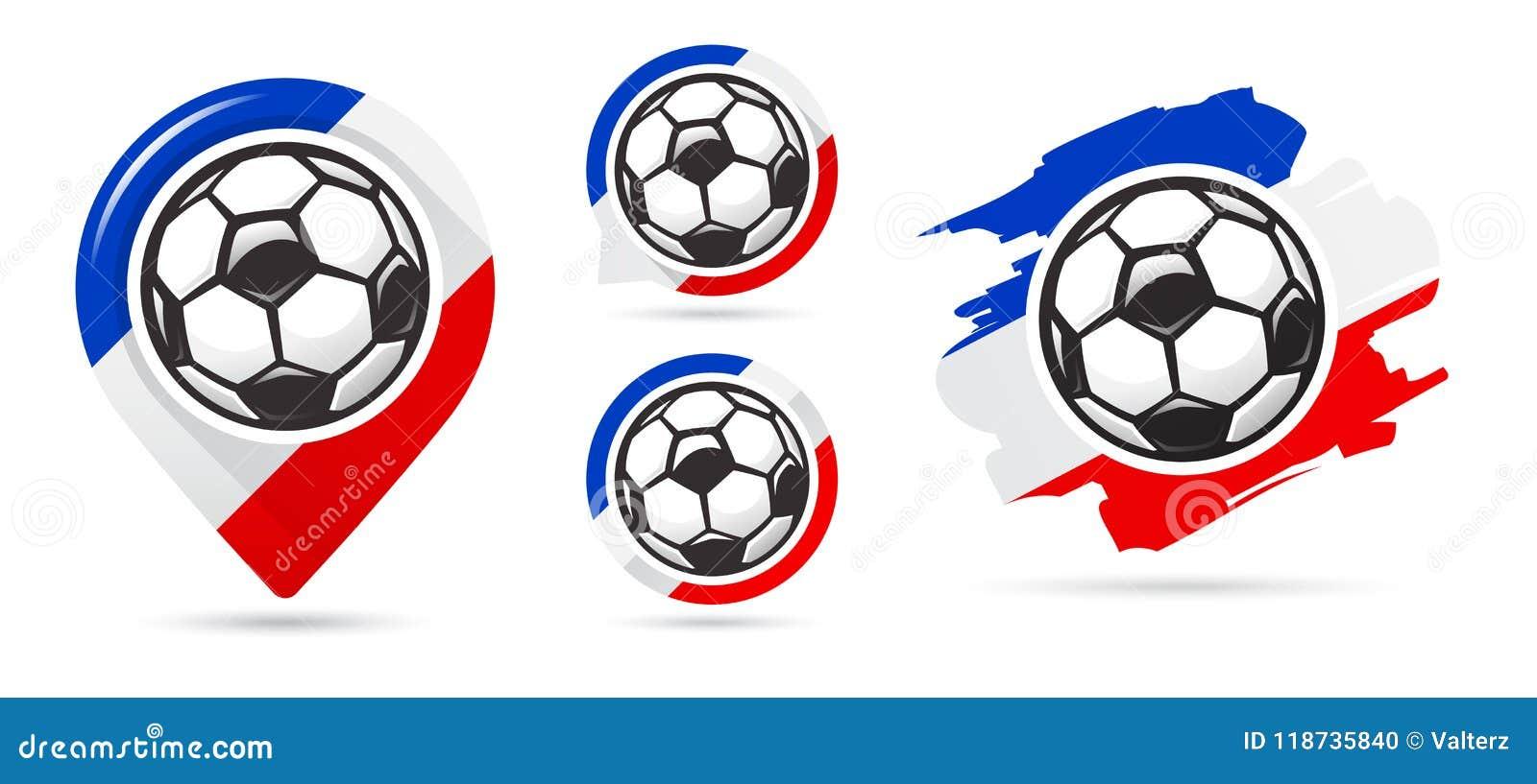 Franska fotbollvektorsymboler Bollen i netto Uppsättning av fotbollsymboler Fotbollöversiktspekare sport för fotboll för bollfotb