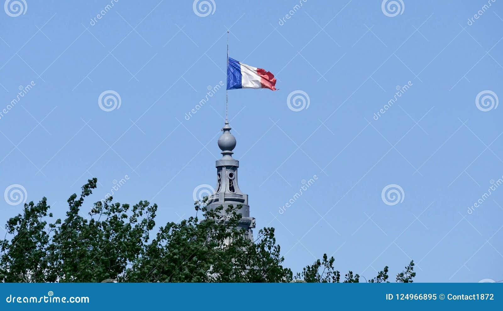 Französische Flagge in einem blauen Himmel stock video footage