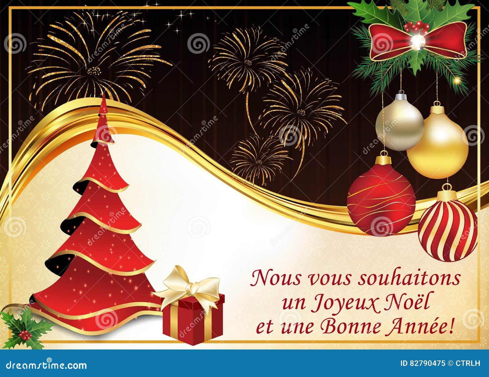Wir Wünschen Euch Frohe Weihnachten Und Einen Guten Rutsch.Französische Grußkarte Wir Wünschen Ihnen Frohe Weihnachten Und