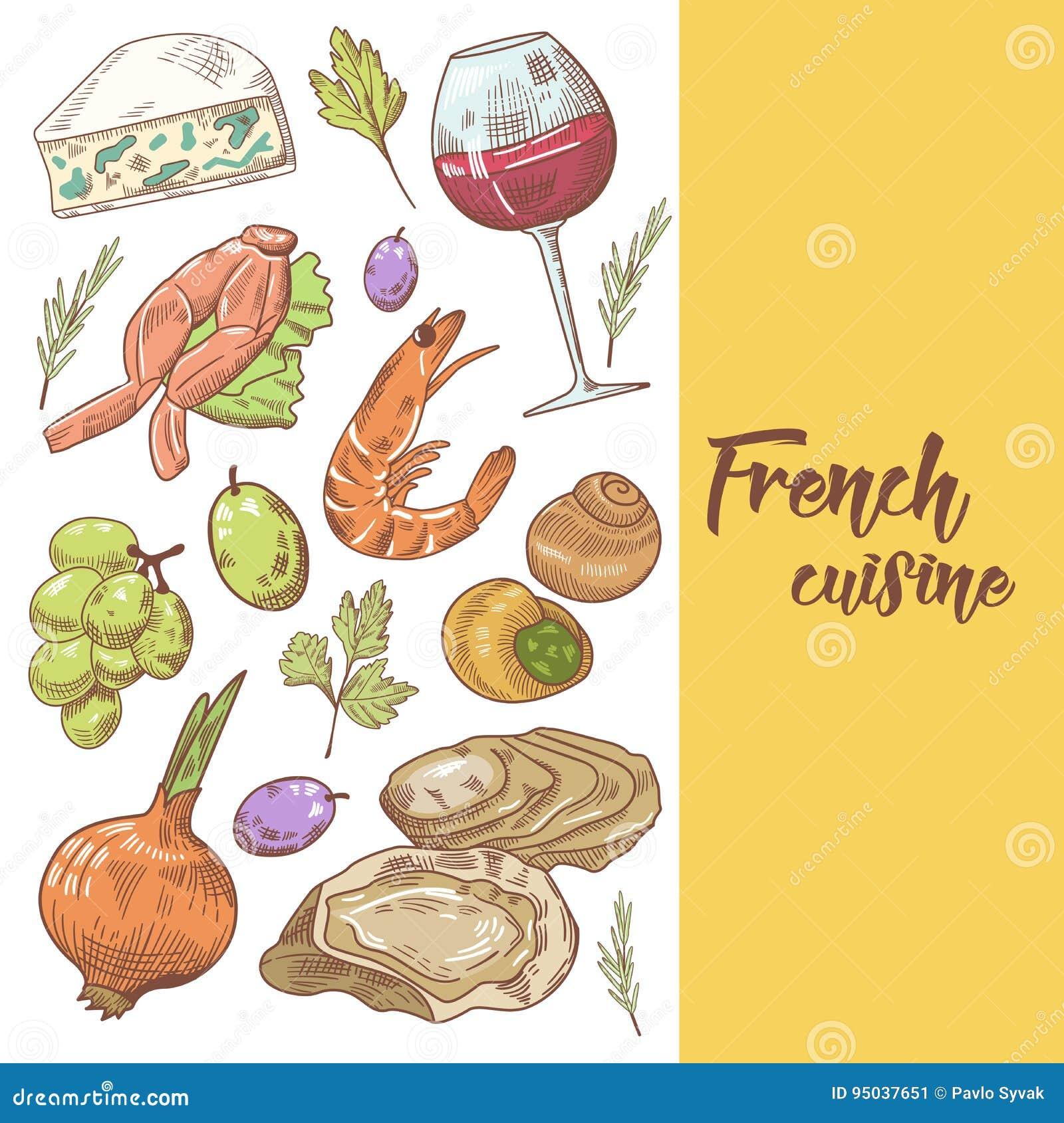 Französische Küche-Hand Gezeichnetes Design Mit Käse, Wein Und ...