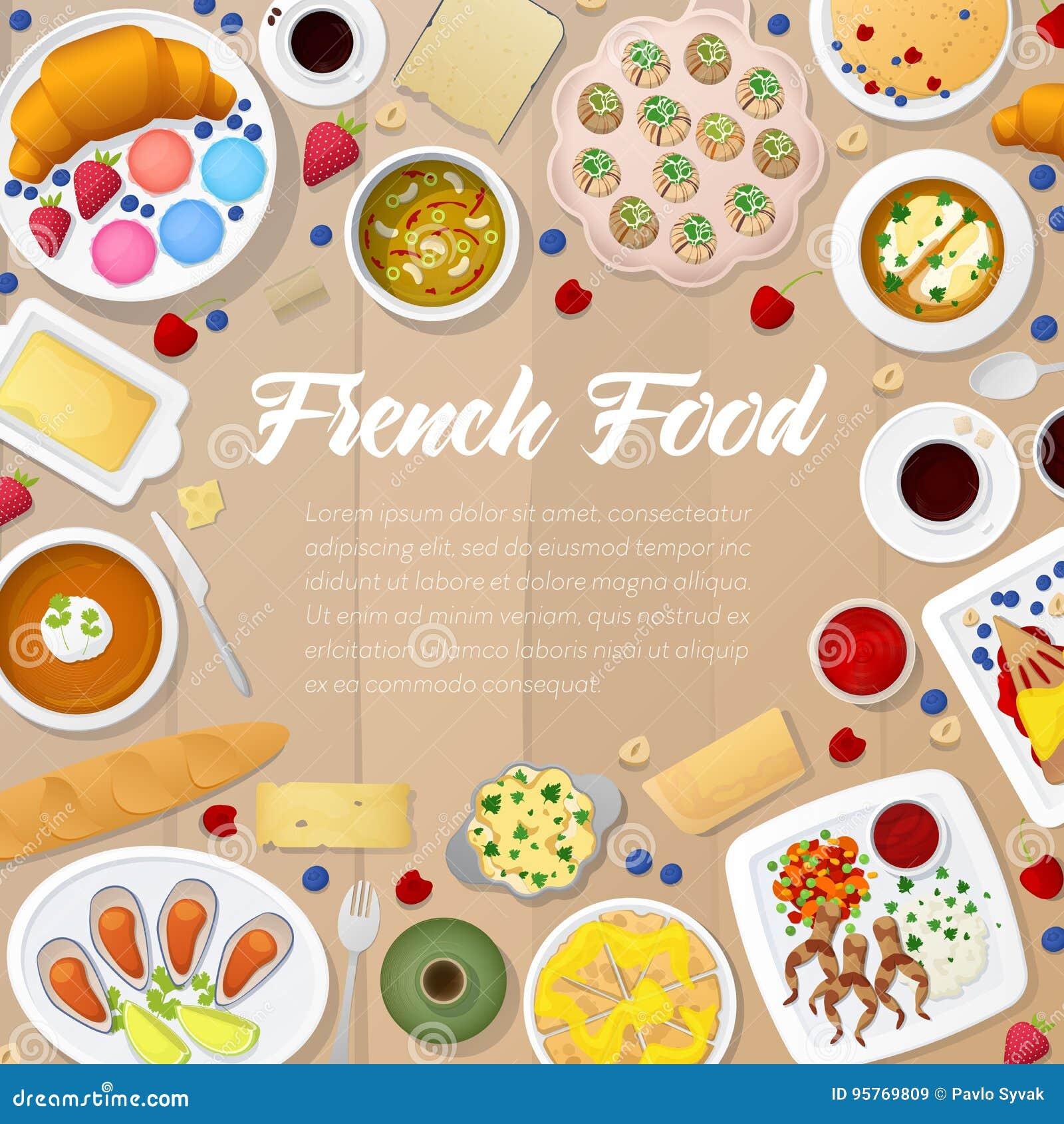 Französische Küche-Menü-Schablone Mit Suppen, Bäckerei Und Käse ...