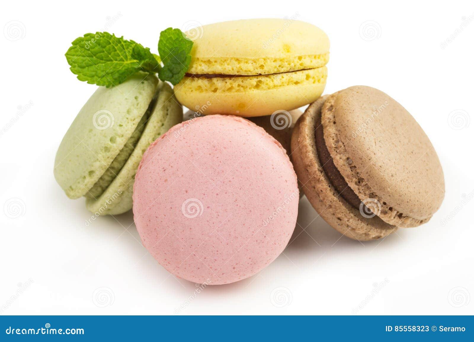 Französische macarons in den Pastellfarben