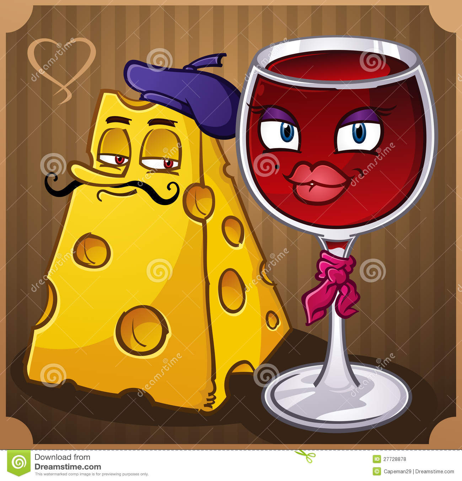 Französische Wein-und Käse-Zeichen