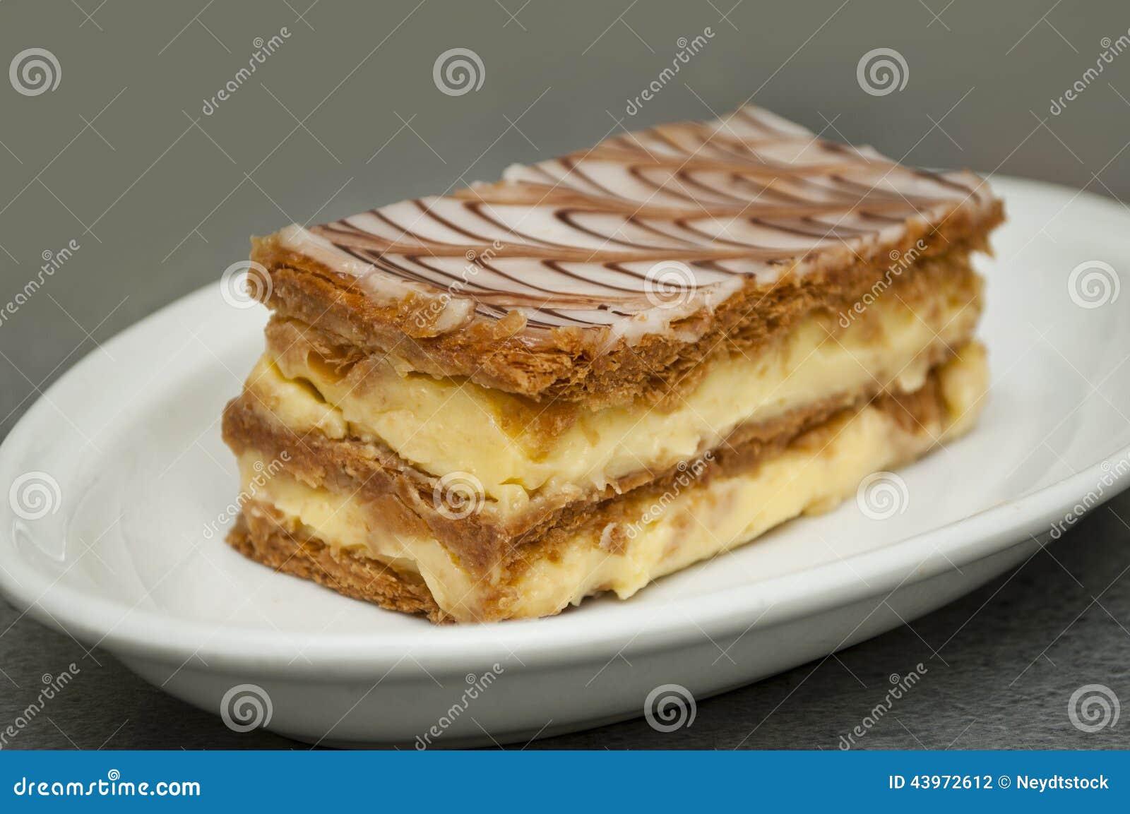 Franzosischer Mille Feuille Kuchen Stockfoto Bild Von Suss