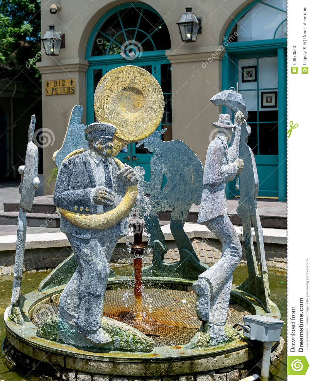 Französisches Viertel Jazz Procession Fountain New Orleans