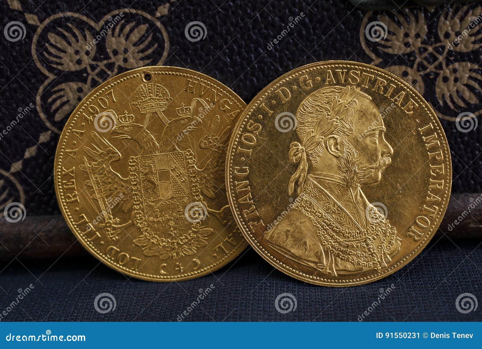 Franz Joseph I Austro Ungrare Guld Dukat Från 1915 Fotografering