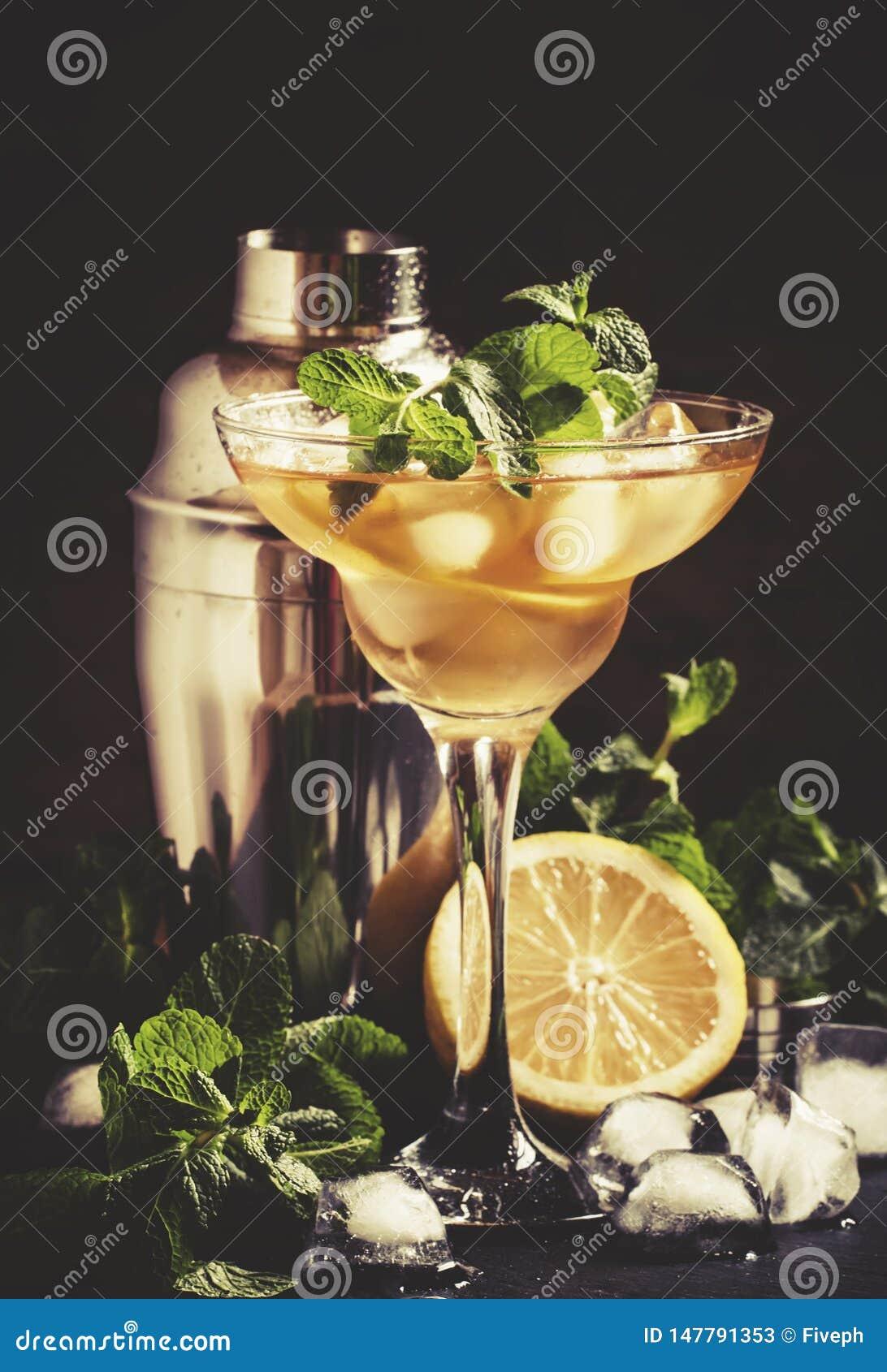 Franz?sische Daiquiri-, Alkoholcocktail- mit Zitronensaft, Zuckersirup-, Kognak-, Minzen- und Eisw?rfel, schwarzer Hintergrund, s