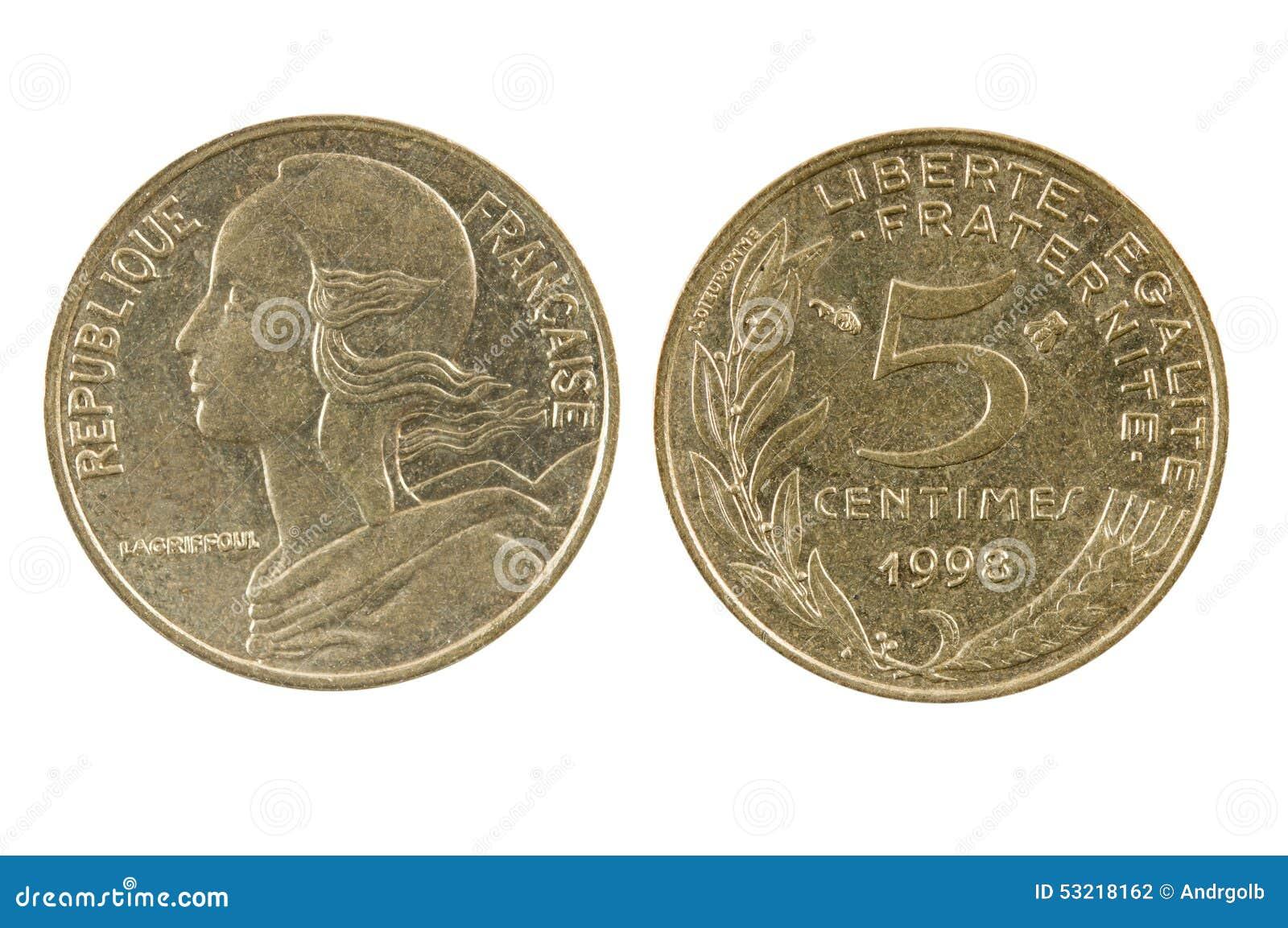 Franzosen 1998 Fünf 5 Centime Münze Stockfoto Bild Von Geschäft