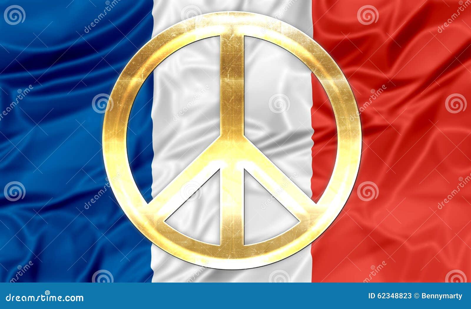 franz sische flagge mit friedenssymbol stock abbildung bild 62348823. Black Bedroom Furniture Sets. Home Design Ideas