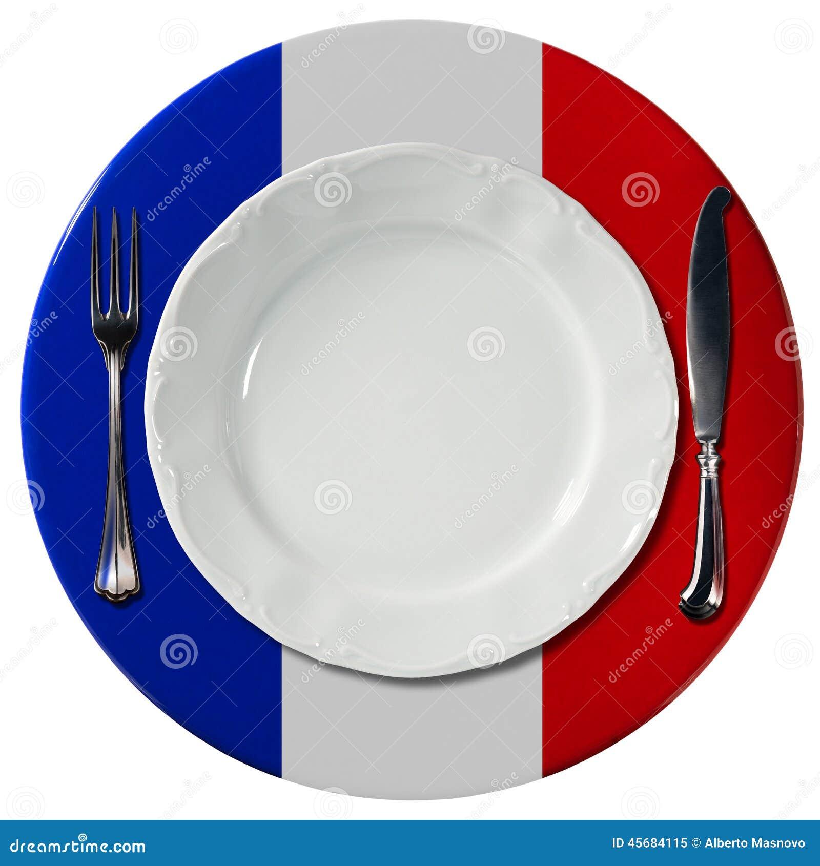 französische küche - platte und tischbesteck stock abbildung