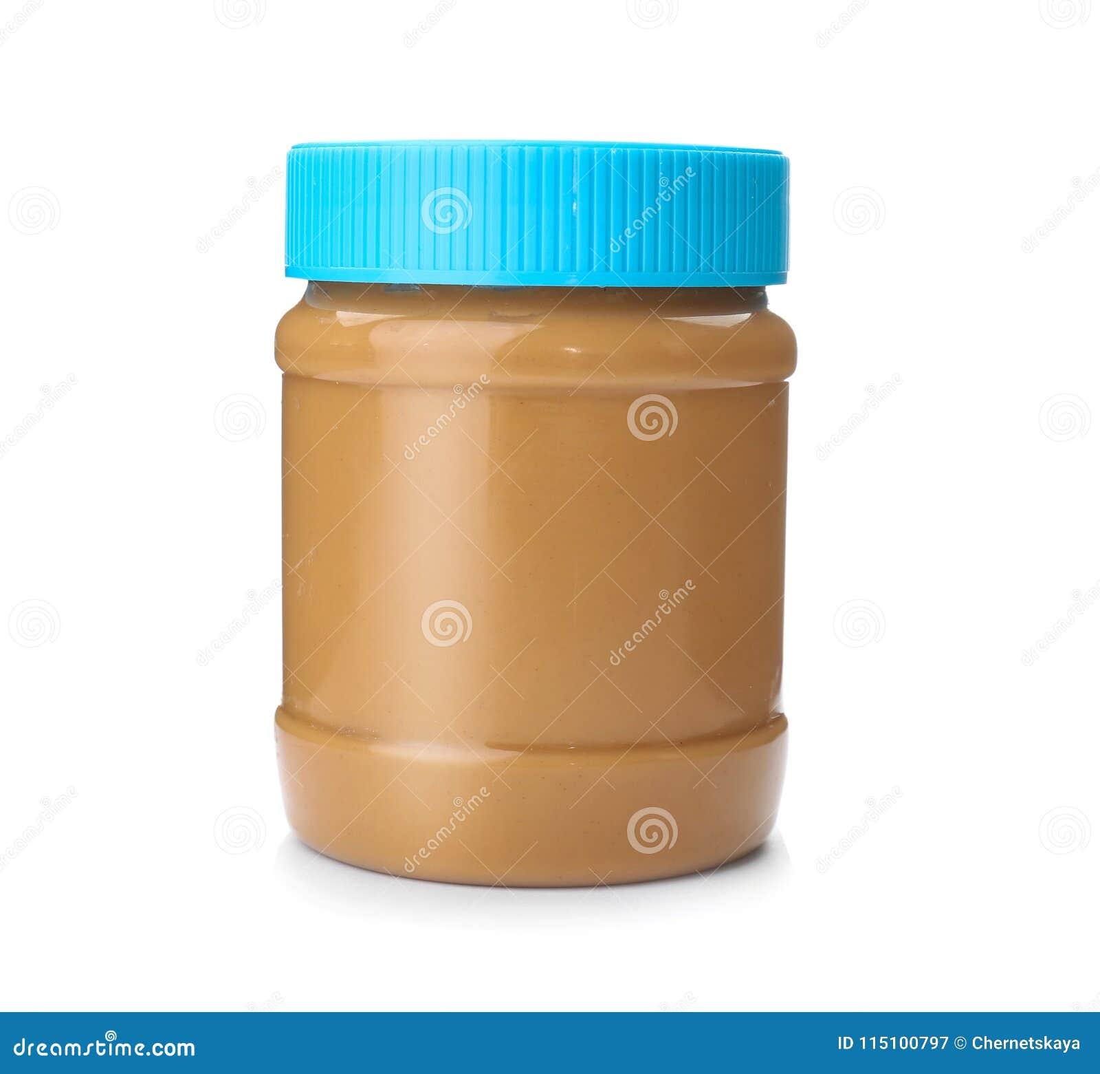 Frasco com manteiga de amendoim cremosa