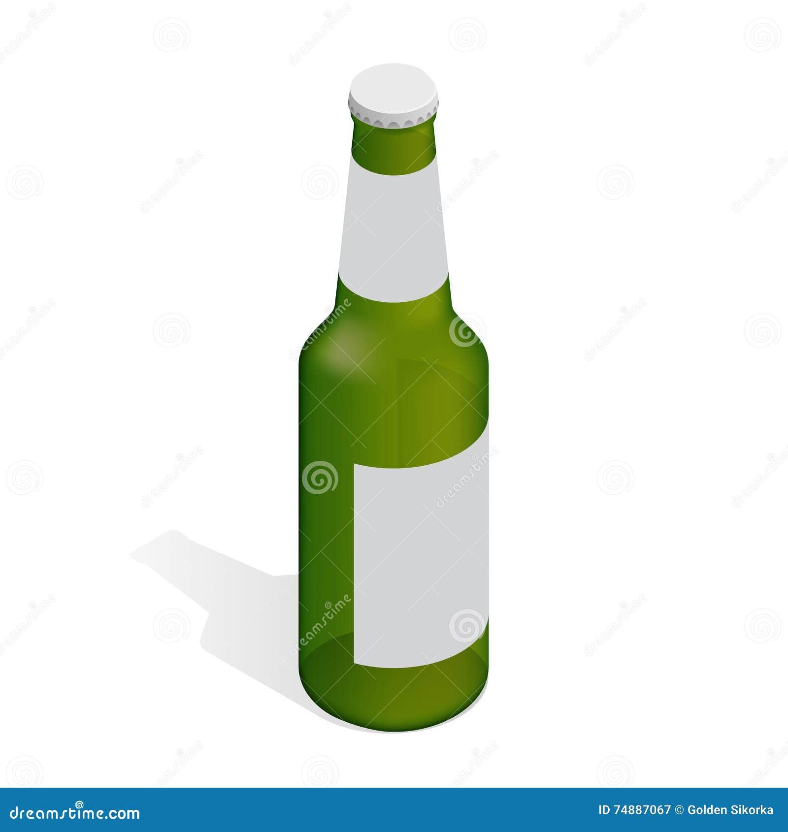 Frasco da cerveja com gotas Ilustração 3d isométrica lisa