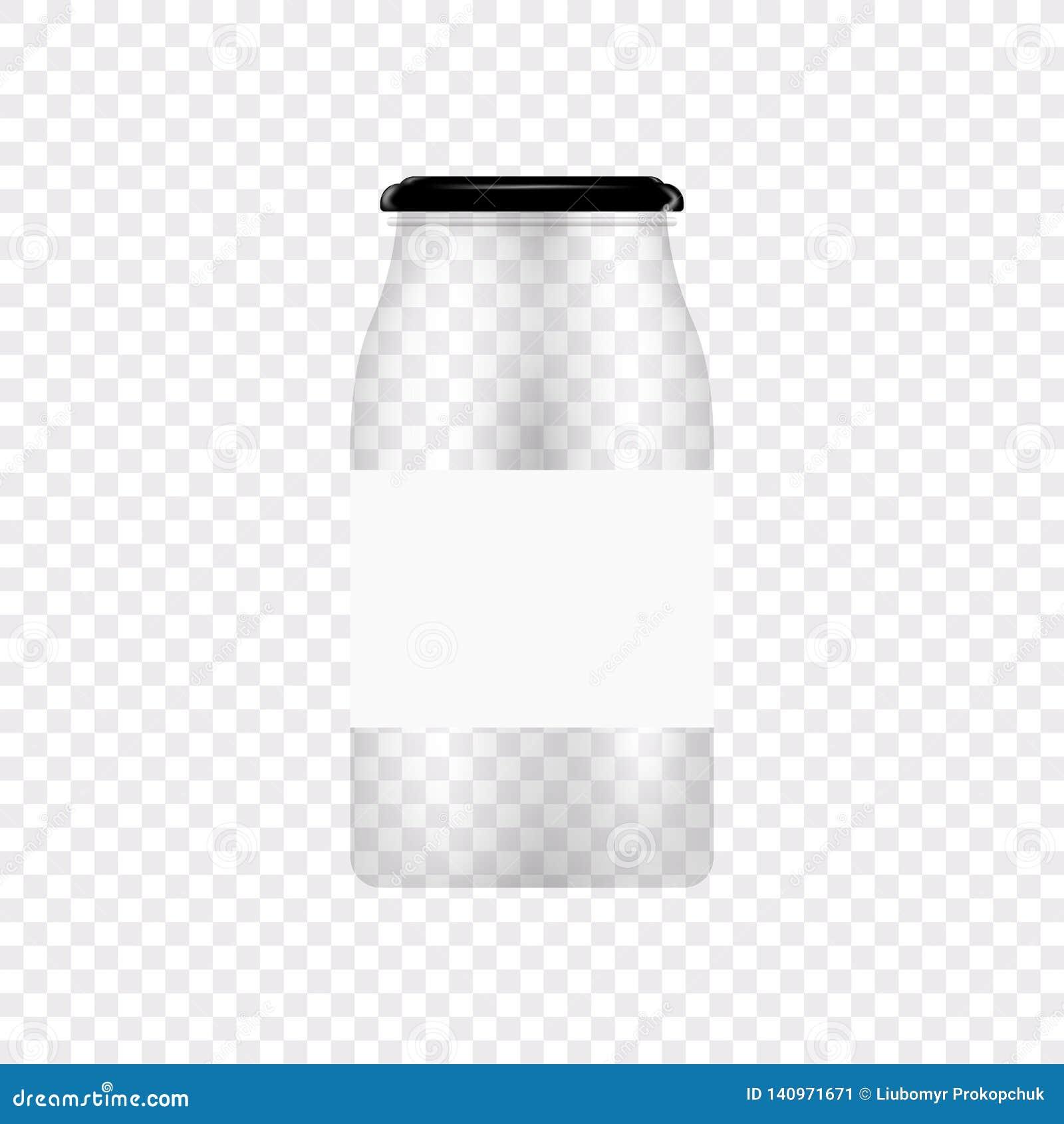 Frasco de vidro para a colocação em latas e a conservação Molde vazio do projeto do frasco do vetor com tampa ou tampa em transpa