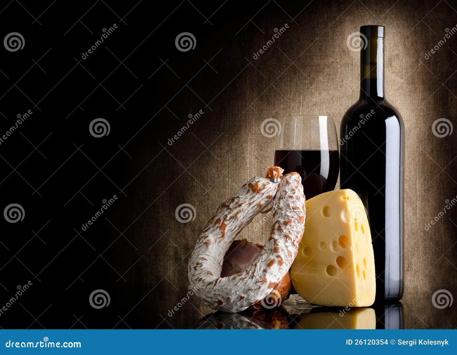 Frasco e queijo de vinho