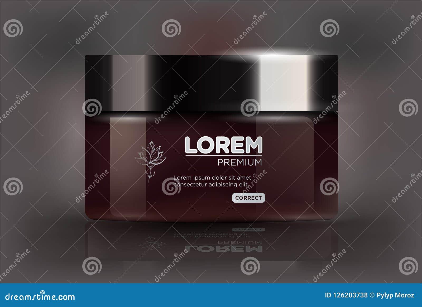 Frasco marrom plástico redondo com a tampa preta para cosméticos