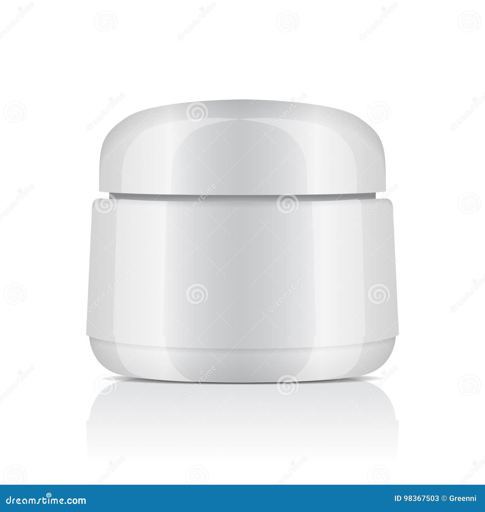 Frasco plástico branco redondo com a tampa para cosméticos Bálsamo, nata, gel, pomada Molde do modelo do vetor