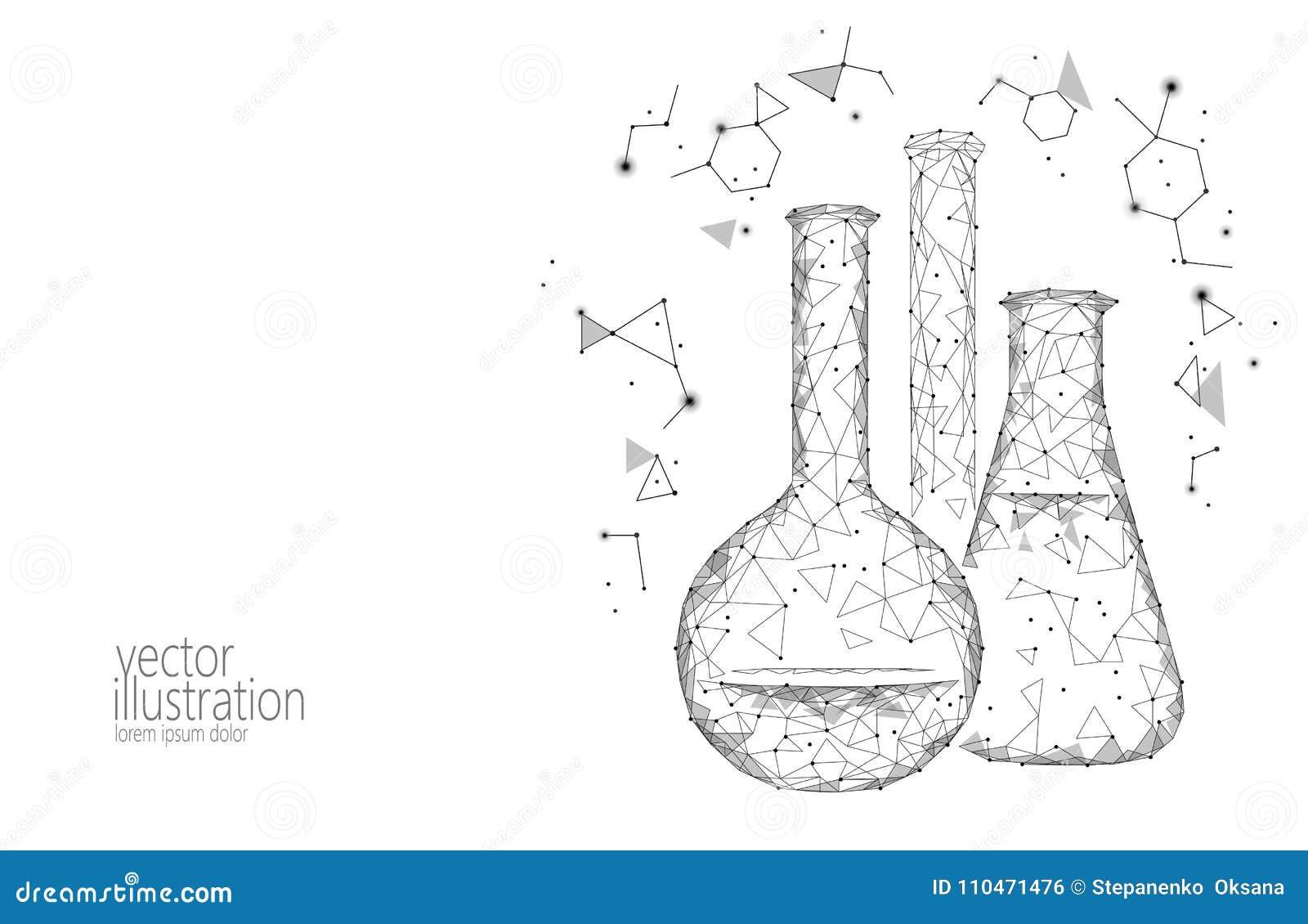 Frascos de cristal químicos de la ciencia polivinílica baja Investigación abstracta monocromática poligonal del blanco gris del t