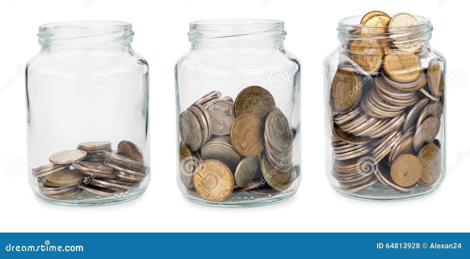 Frascos de vidro com moedas