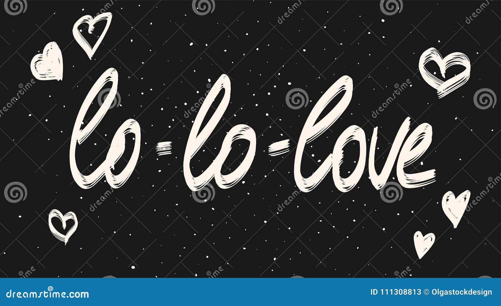 Frase Da Caligrafia Do Amor Texto Branco No Quadro Preto Ilustração