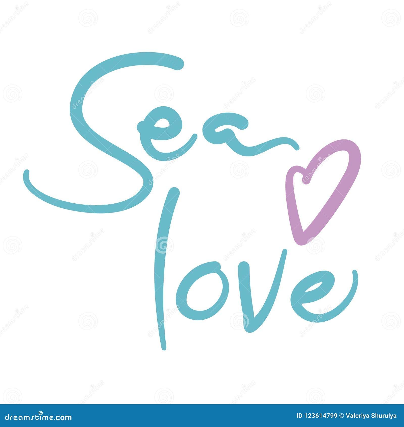 Frase Da Rotulação Do Amor Do Mar Ilustração Do Vetor Isolada No