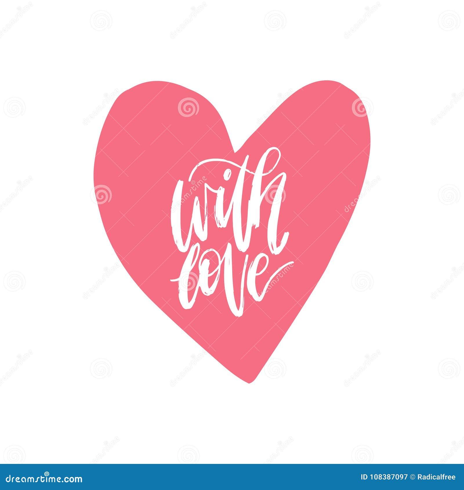 Frase De Las Letras De La Mano Del Vector Con Amor 14 De Febrero
