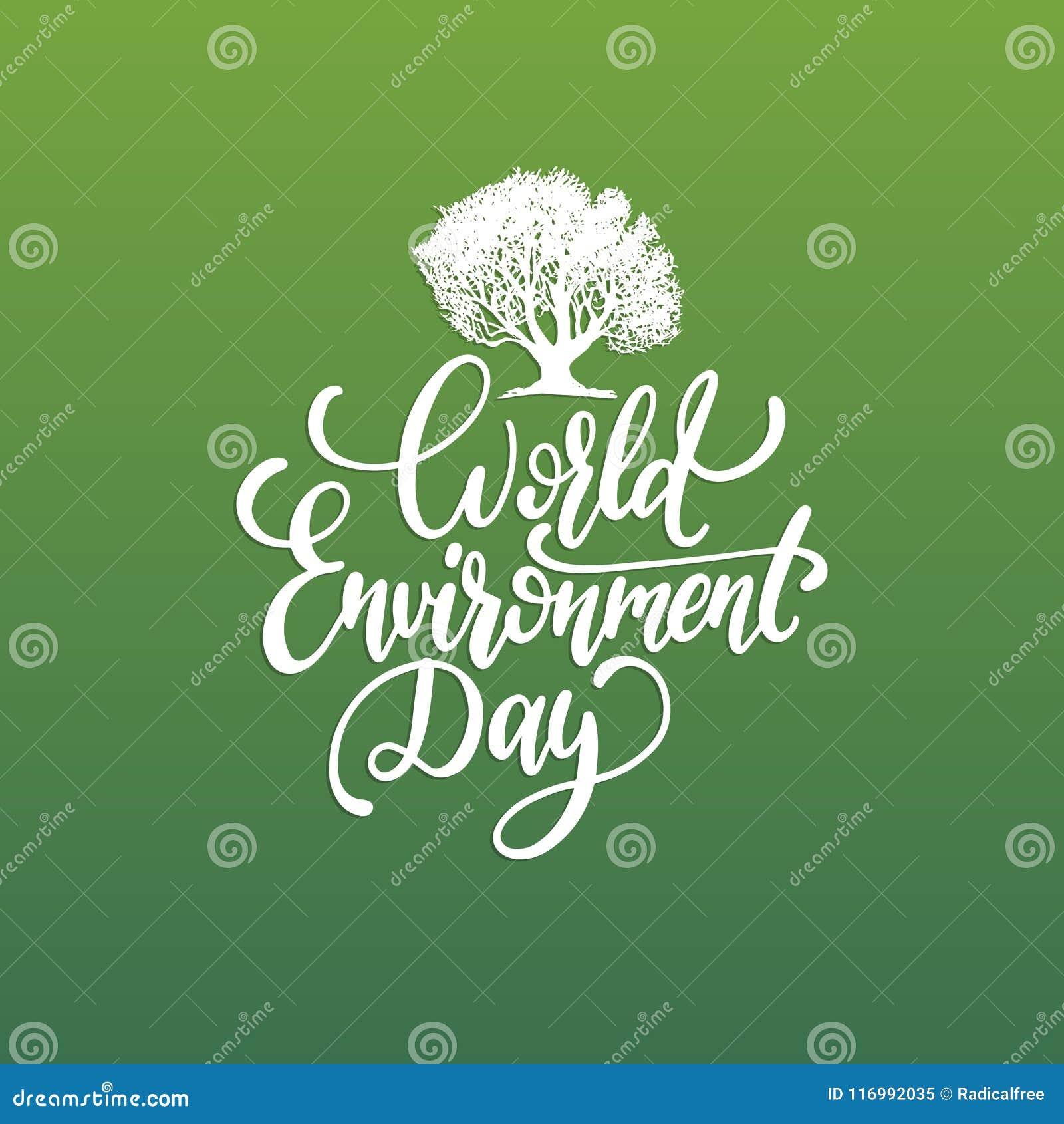 Frase Escrita à Mão Do Dia De Ambiente De Mundo No Fundo Verde