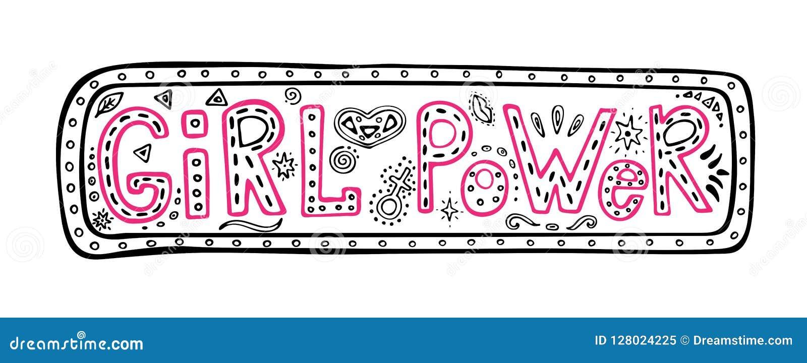 Frase no quadro, citações inspiradas da mão-rotulação do poder da menina, ilustração do gráfico colorido no estilo da garatuja, m