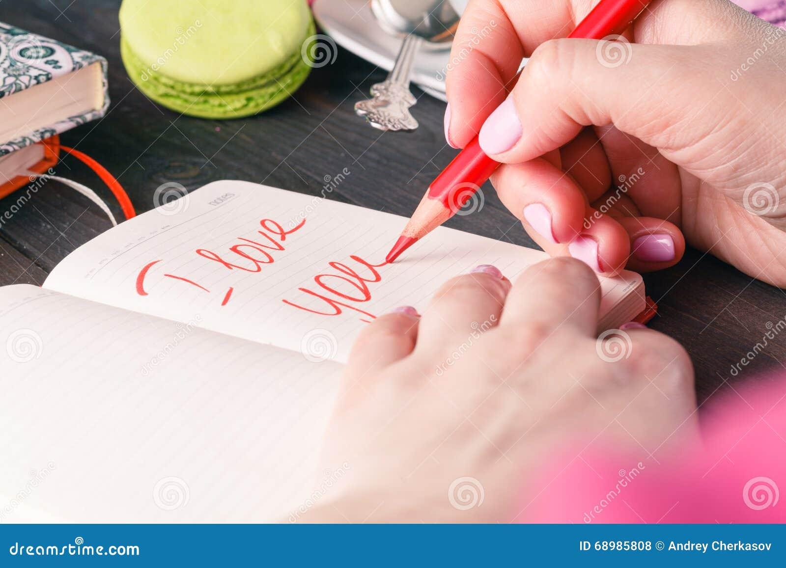 Frase sobre el amor escrito en cuaderno Concepto del día de tarjetas del día de San Valentín
