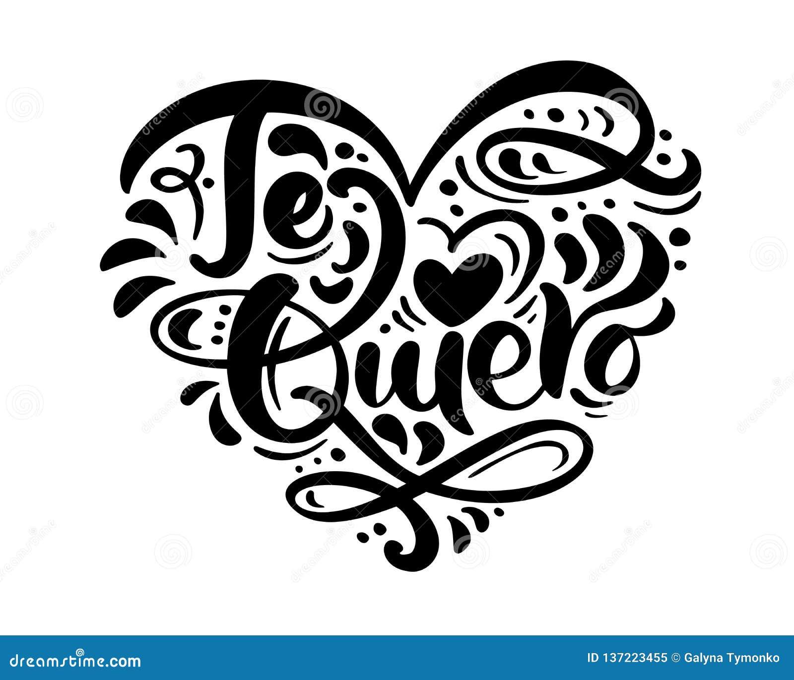 Frase Te Quiero De La Caligrafía En Español Te Amo Letras