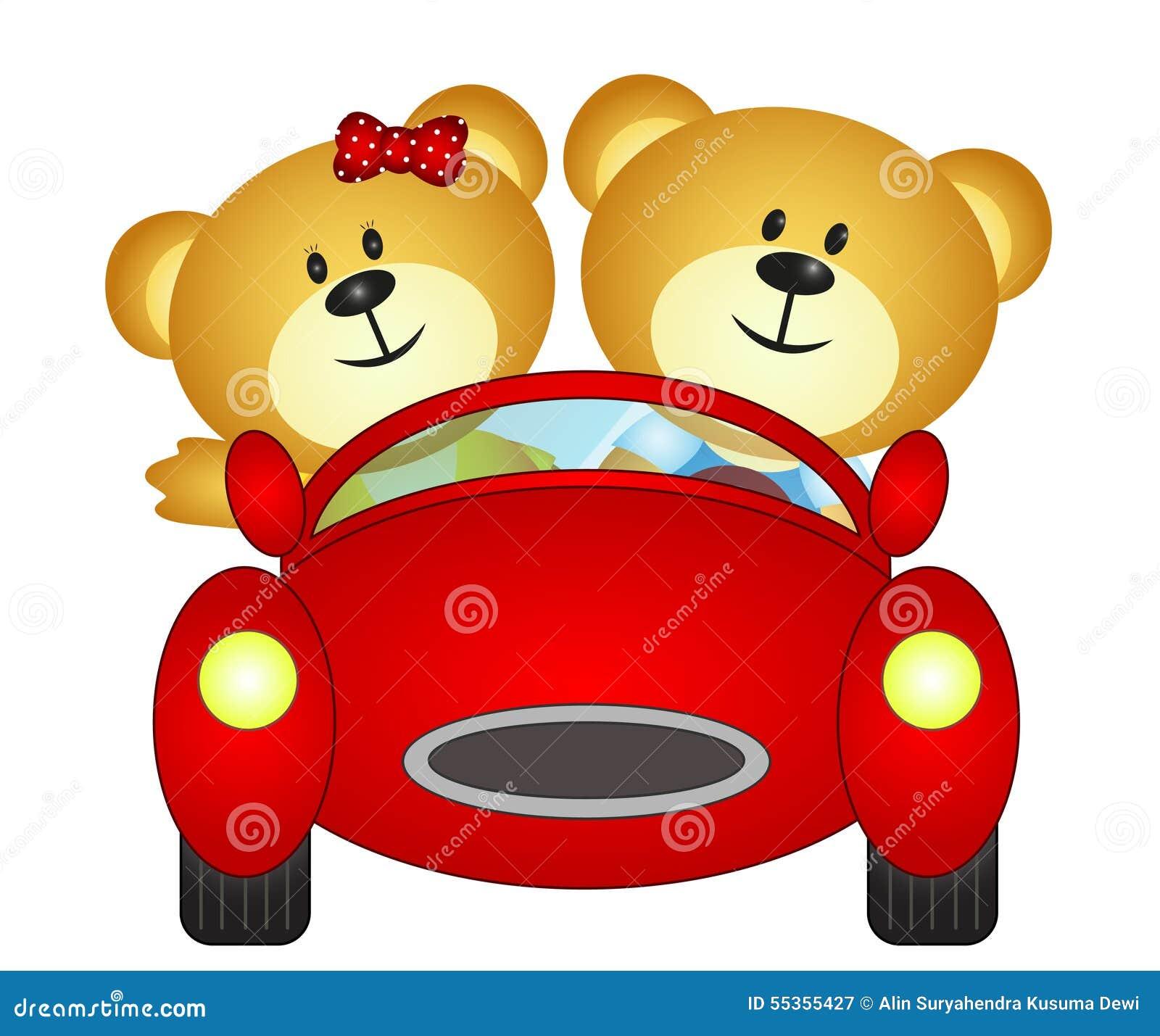 Fratelli dell orso che giocano con il loro giocattolo dell automobile