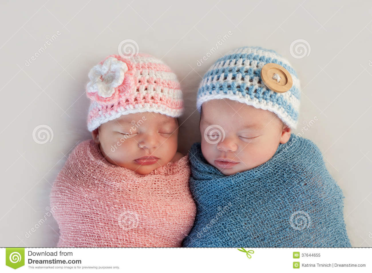 Fraternal Twin Baby Brother And Sister Royalty Free Stock ...