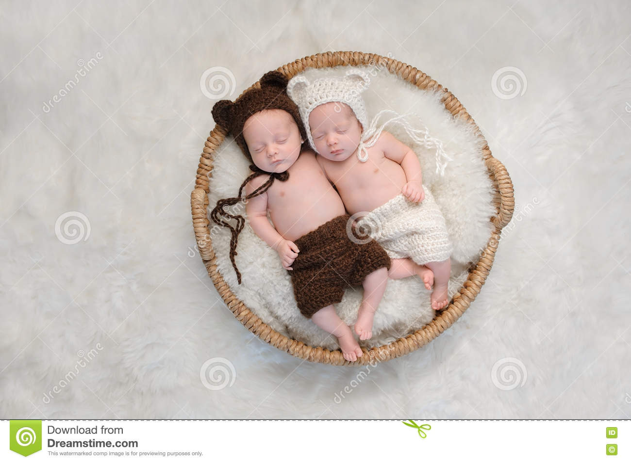 Fraternal Twin Baby Brother and Sister in Bear Hats