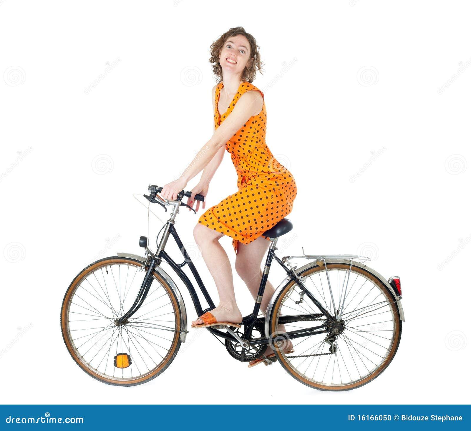 frau auf fahrrad stockfoto bild 16166050. Black Bedroom Furniture Sets. Home Design Ideas