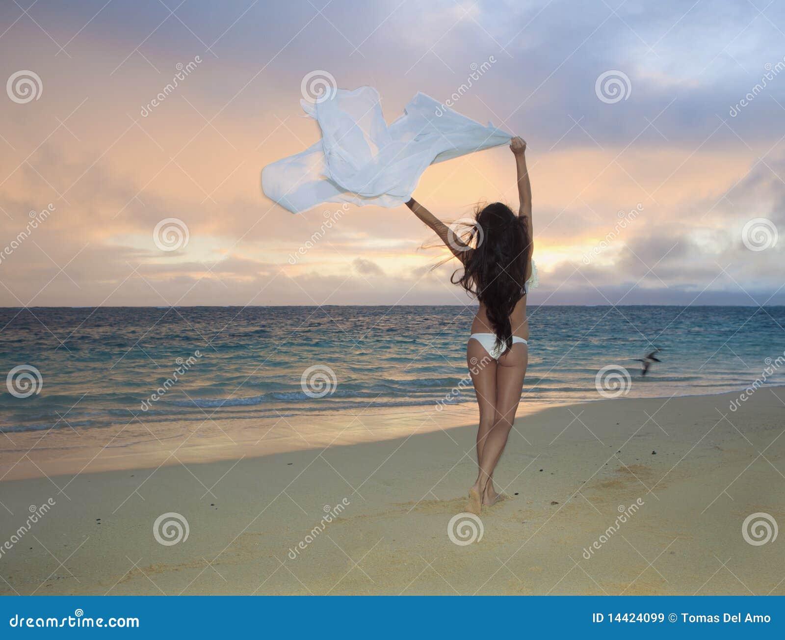 frau auf lanikai strand am sonnenaufgang stockbild bild von blume gehen 14424099. Black Bedroom Furniture Sets. Home Design Ideas