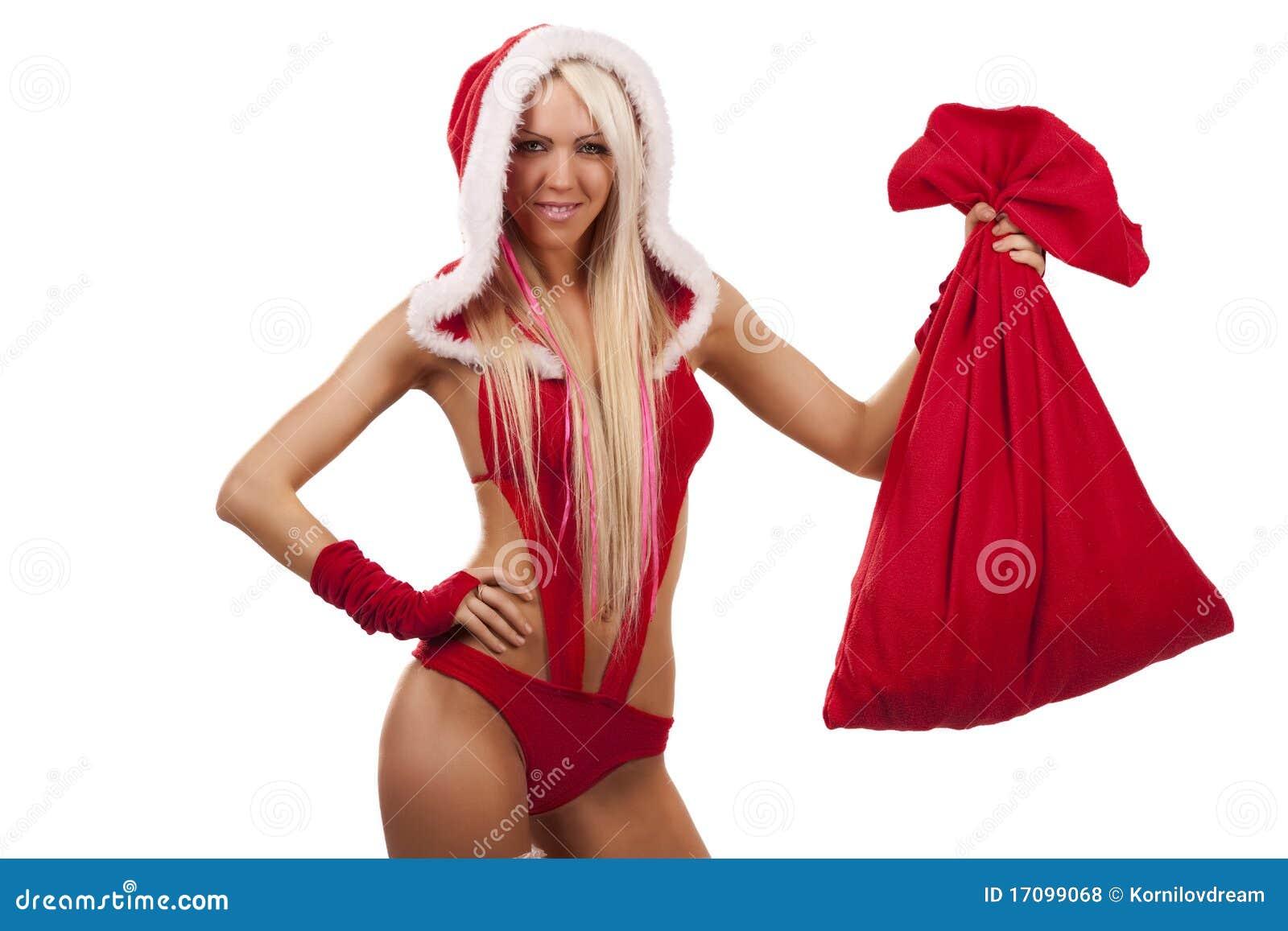 Frau in der Weihnachtsmann-Klage mit Geschenkbeutel