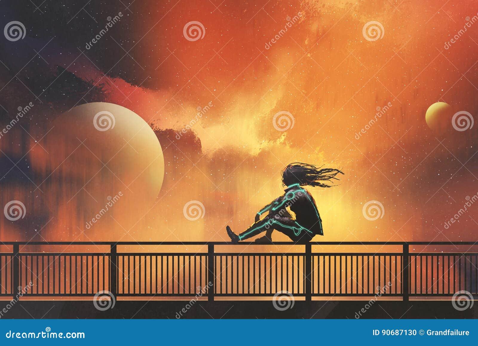 Frau, die auf dem Geländer betrachtet schönen Himmel sitzt