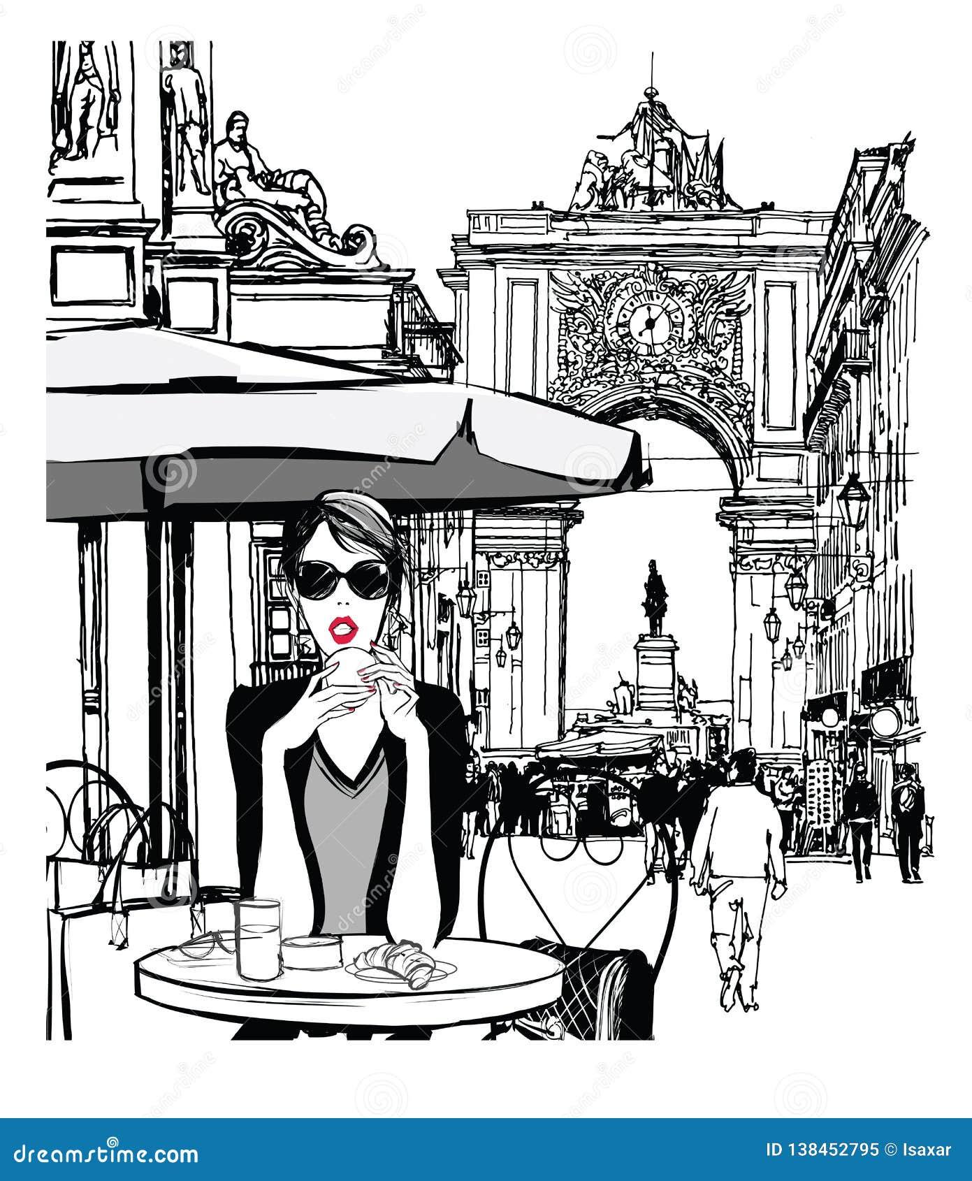 Frau, die in der Straße von Lissabon frühstückt