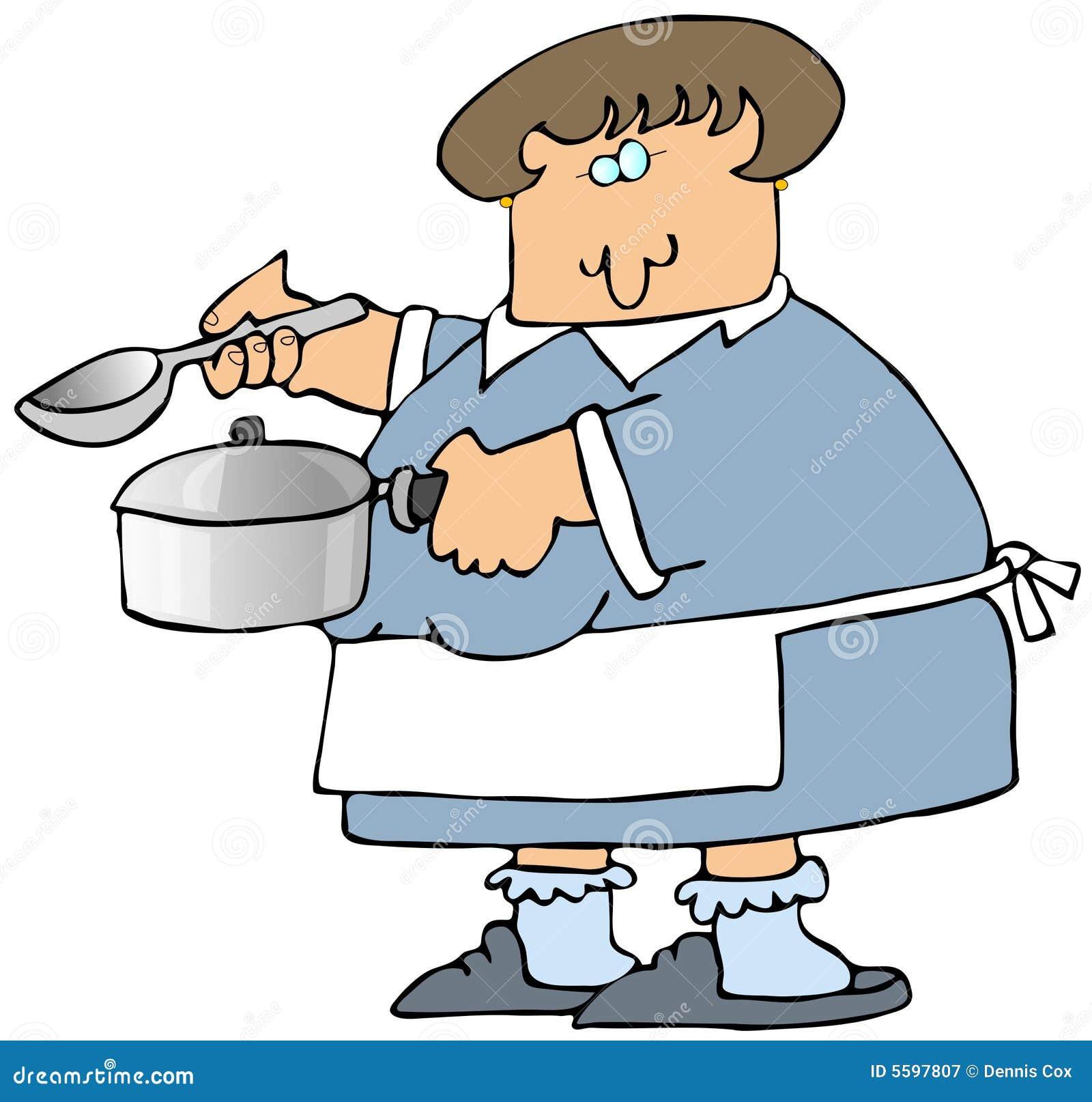Frau, die Suppe kocht